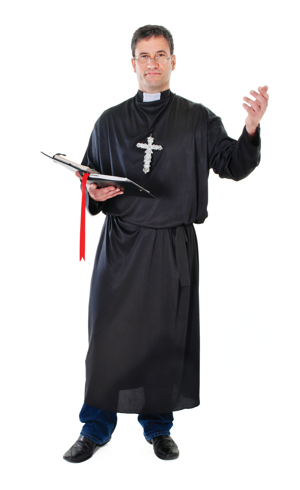 Mens Black Priest Gown Fancy Dress Costume Religious Christ Pope God Outfit New