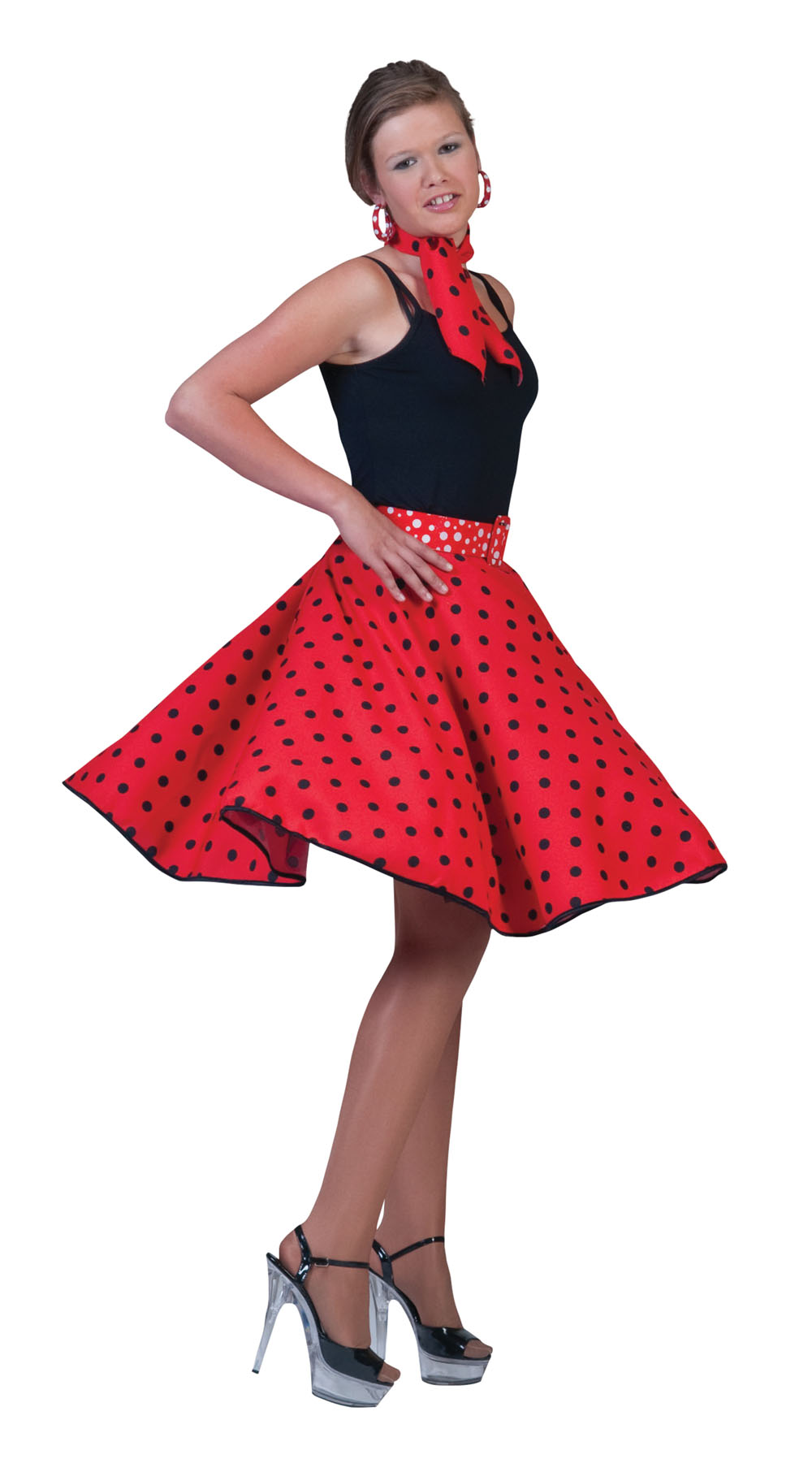 Ladies Red4 Black Polka Dots Rock N Roll Skirt 50's Fancy Dress Costume UK 10-14