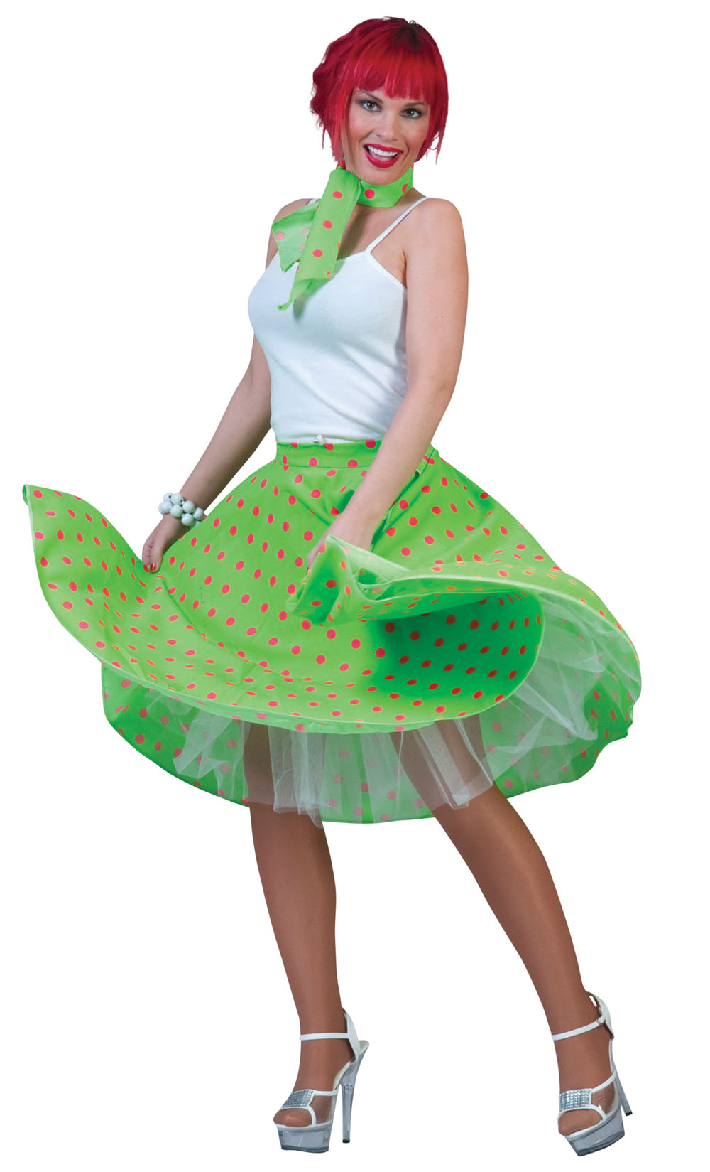 Ladies Green Polka Dots Rock N Roll Skirt 1950's Fancy Dress Costume UK 10-14