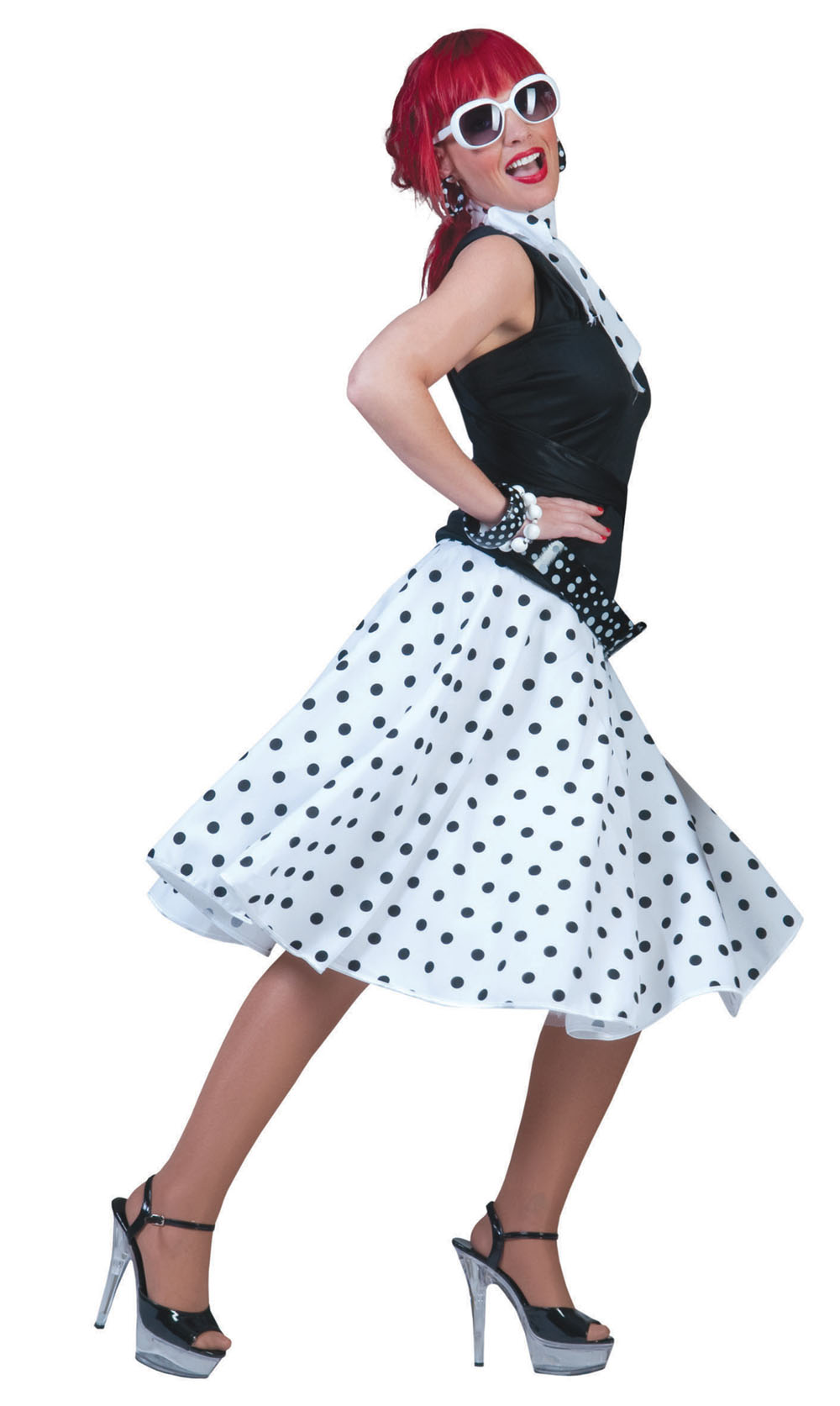 Ladies White Polka Dots Rock N Roll Skirt 1950's Fancy Dress Costume UK 10-14