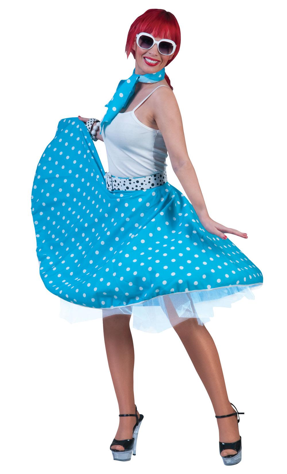 Ladies Blue Polka Dots Rock N Roll Skirt 1950's Fancy Dress Costume UK 10-14