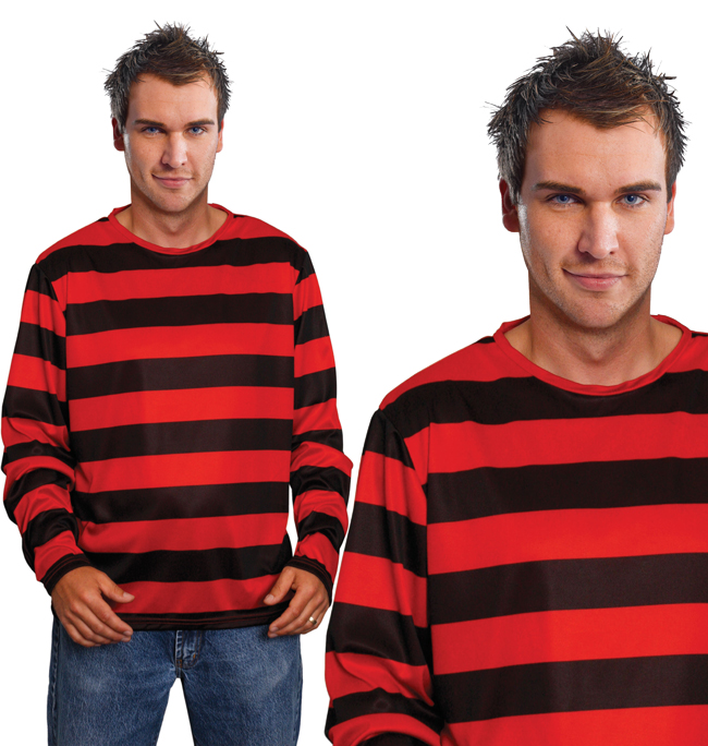 Red & Black Stripe Top Dennis The Mennace Freddy Fancy Dress Costume Outfit New