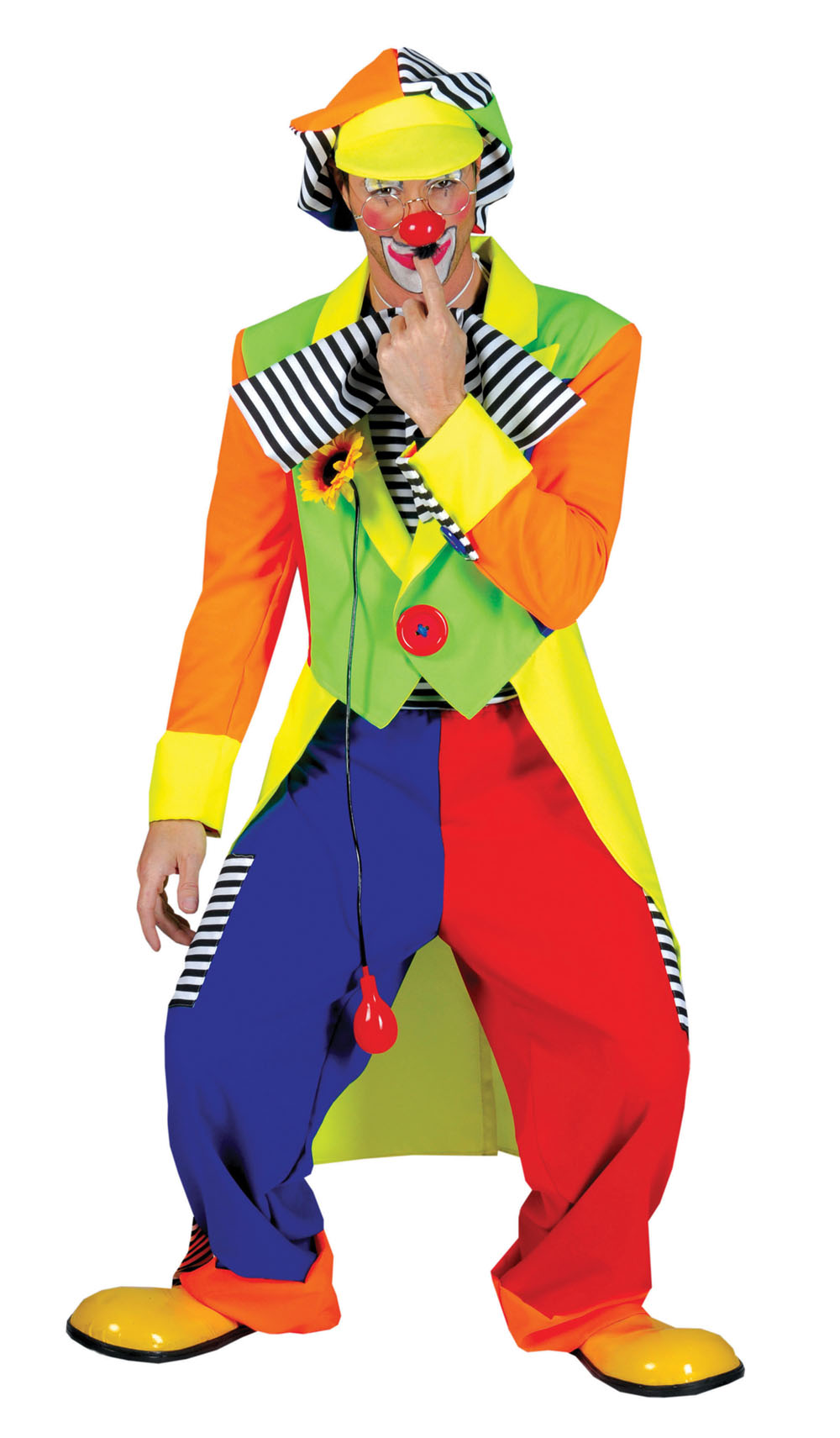 Mens Bright Colourful Circus Clown Trousers & Jacket Fancy Dress Costume Outfit