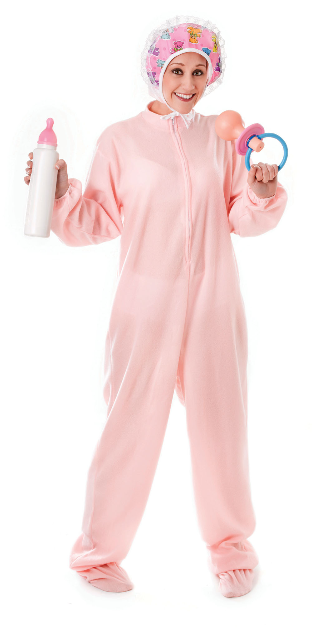 Adults Size Baby Girl Babygrow Fancy Dress Costume Stag Do Hen Party Pink New
