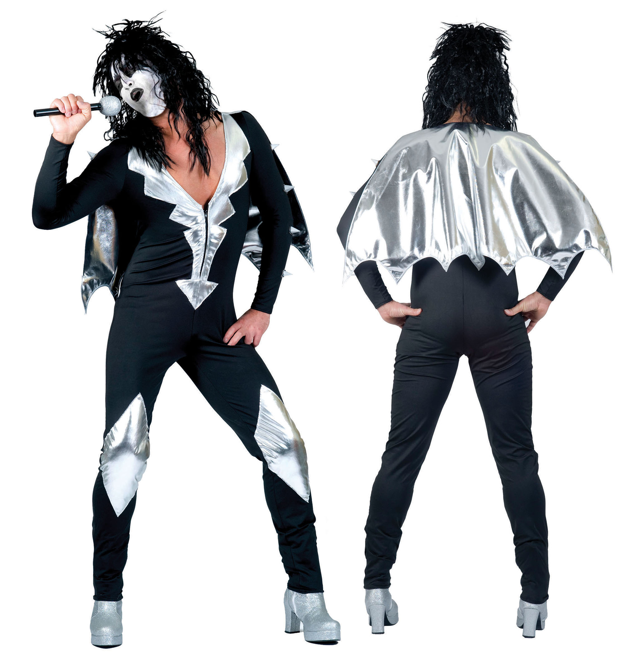 Mens GlamRock Jumpsuit Fancy Dress Costume Outfit Alice Cooper Kiss Halloween XL