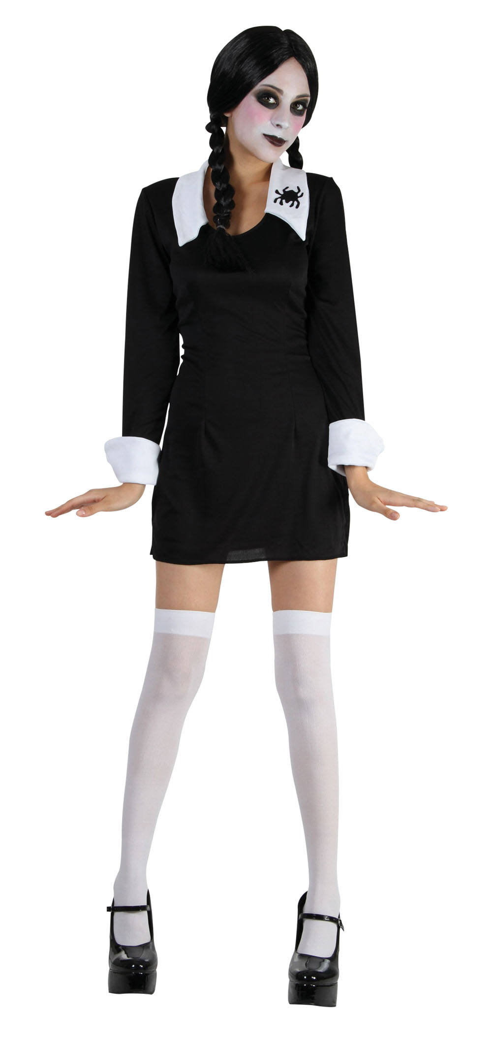 Ladies Halloween Fancy Dress Costume Wednesday Addams School Girl UK 10-14