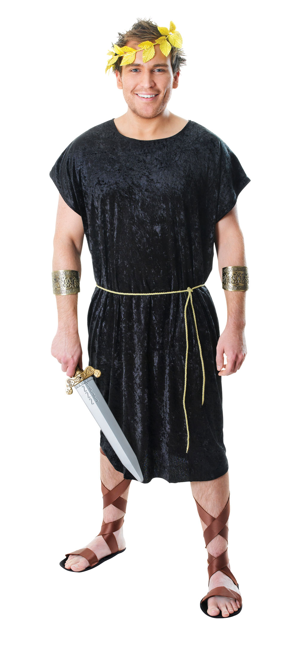 Mens Black Tunic Greek God Warrior Fancy Dress Costume Historic Actor Outfit New