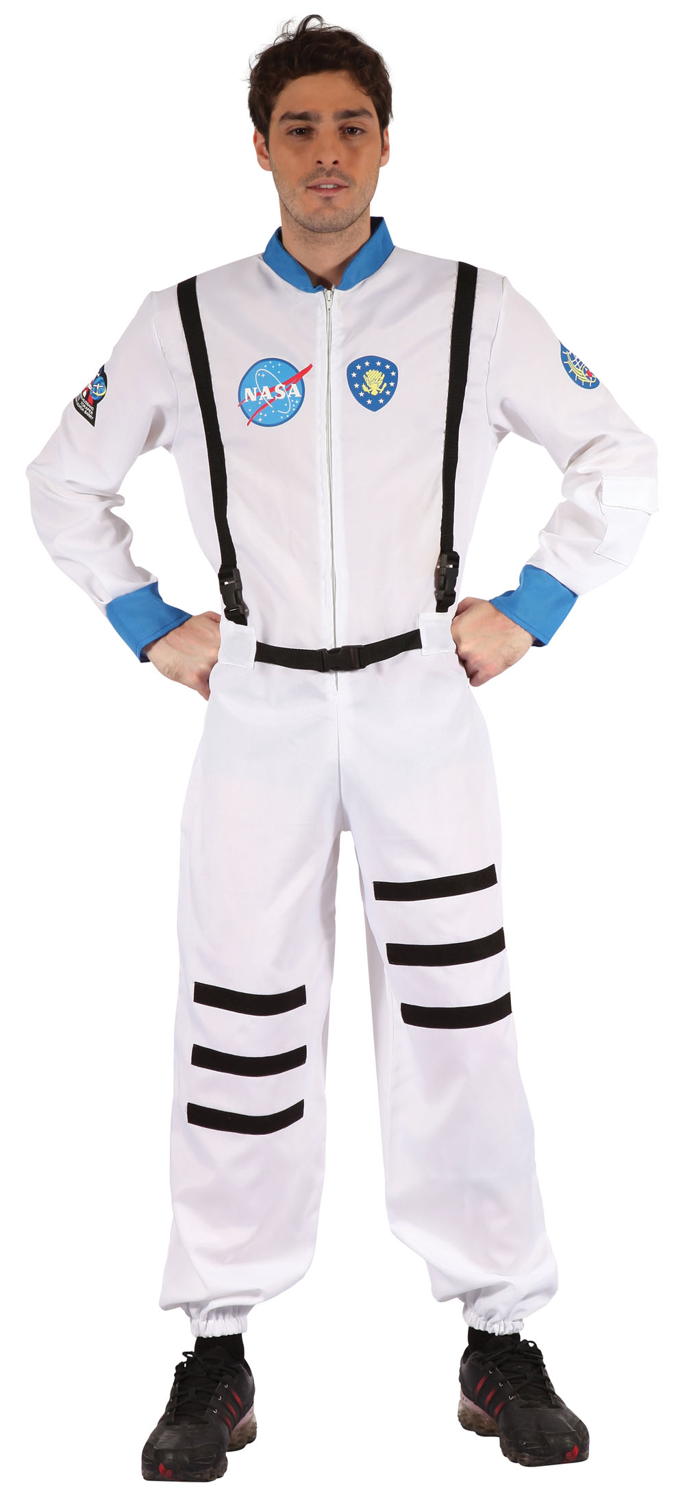 Mens White Astronaut Space Suit Fancy Dress Costume Rocket Spaceship Outfit New