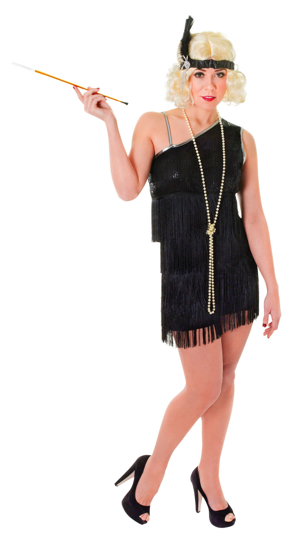 Ladies 1920s Black Flapper Fancy Dress Costume Charleston Womens Outfit UK 10-14