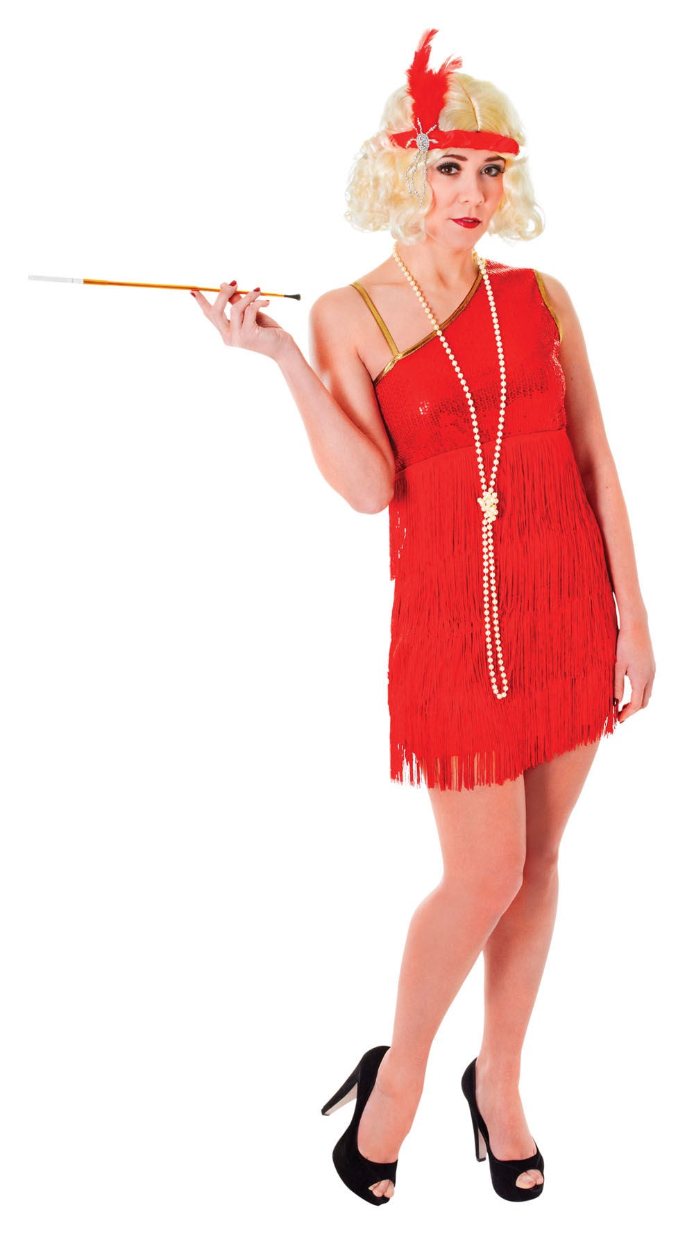 Ladies 1920s Red Flapper Fancy Dress Costume Charleston Womens Outfit UK 10-14