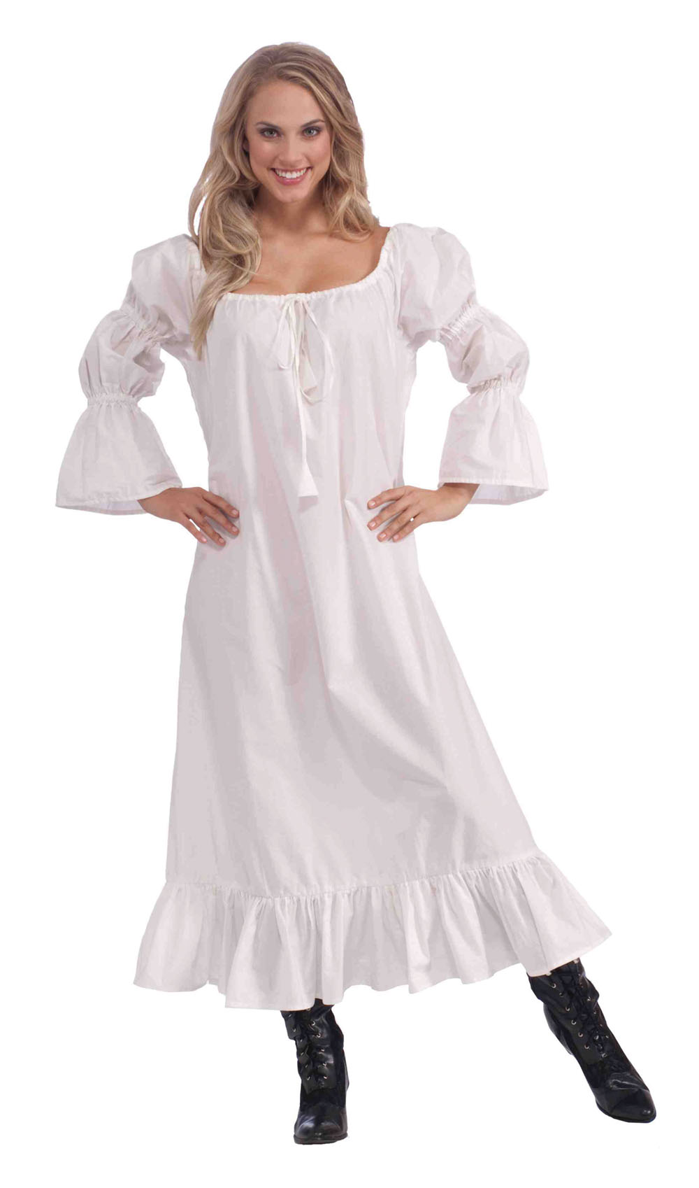 Ladies White Medieval Chemise Undergown Fancy Dress Costume Nightdress UK 10-14