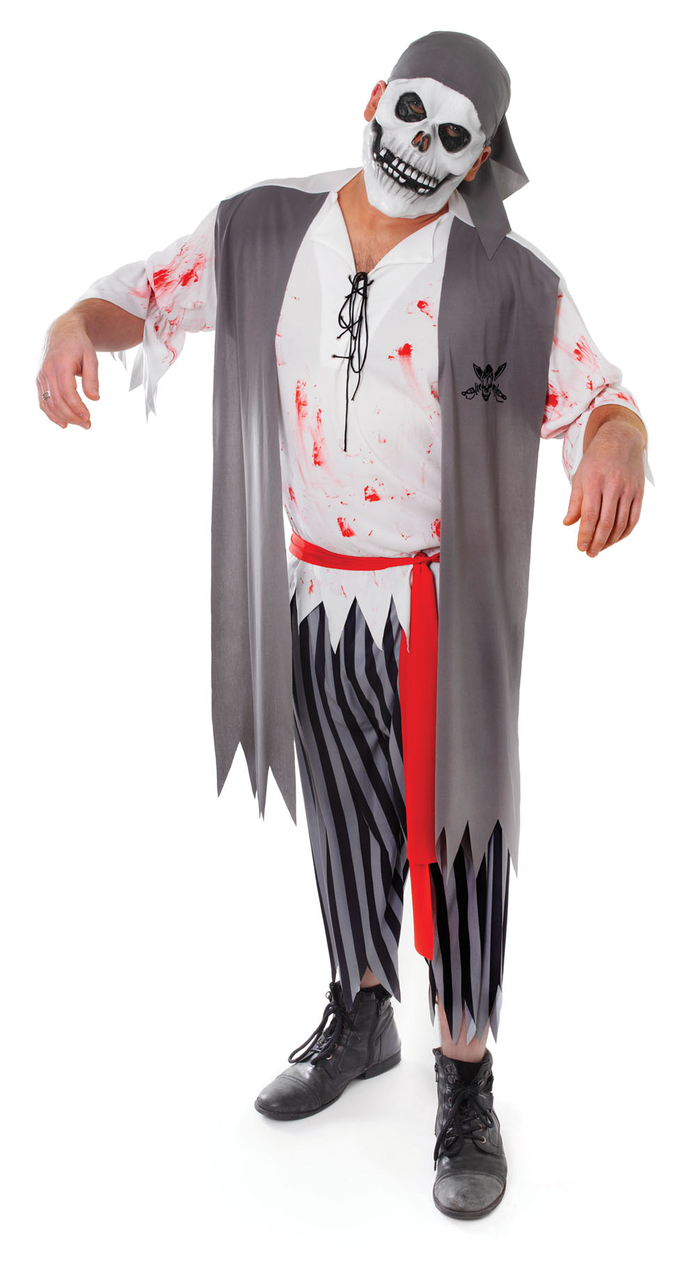Mens Zombie Pirate Costume Blood Stained Halloween Fancy Dress Costume Outfit