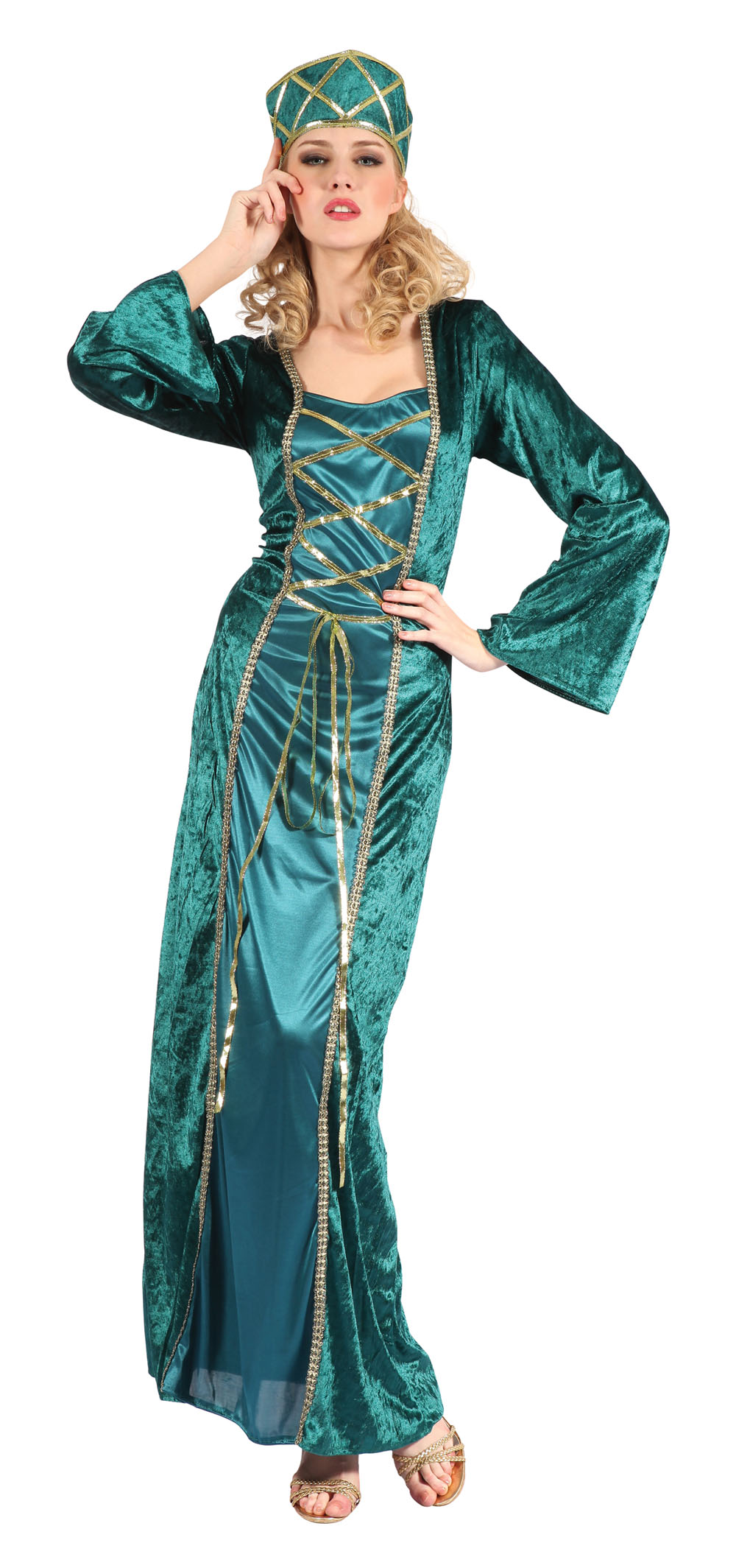Ladies Queen Fancy Dress Costume Womens Green Blue Outfit UK 10-14
