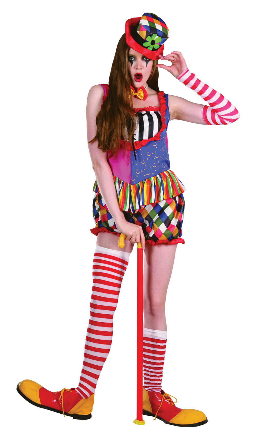 Ladies Clown Fancy Dress Costume Multi-colour Halloween Outift & Hat UK 10-14