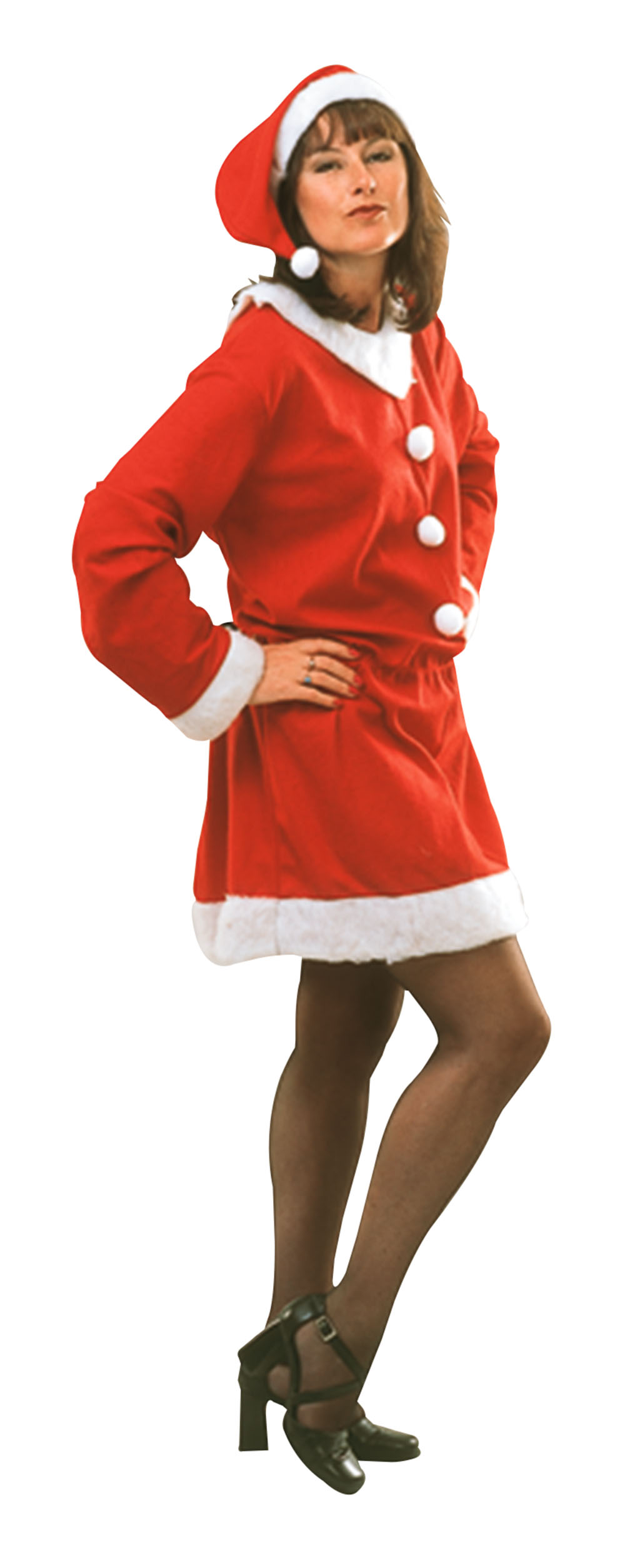 Ladies Christmas Santa Outfit Xmas Red Fancy Dress Costume & Hat UK 10-14
