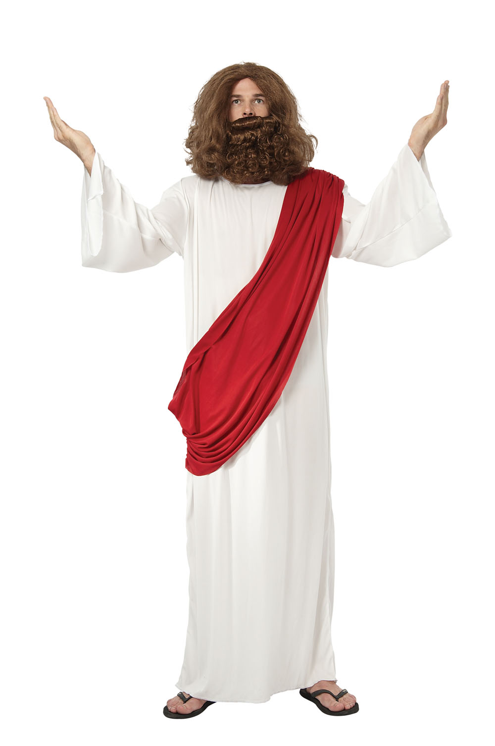 Mens Jesus White & Red Gown Fancy Dress Costume Religious God Religion Outfit