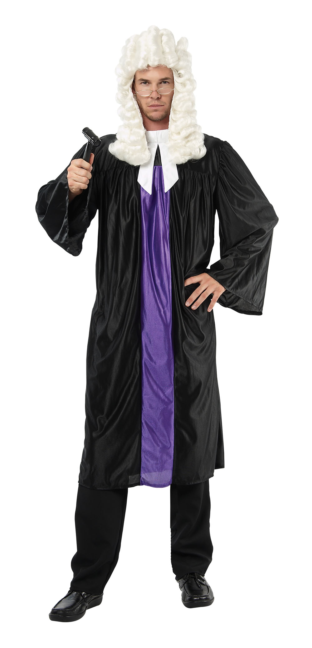 Mens Black & Purple Judge Gown Fancy Dress Costume Law Court Party Outfit