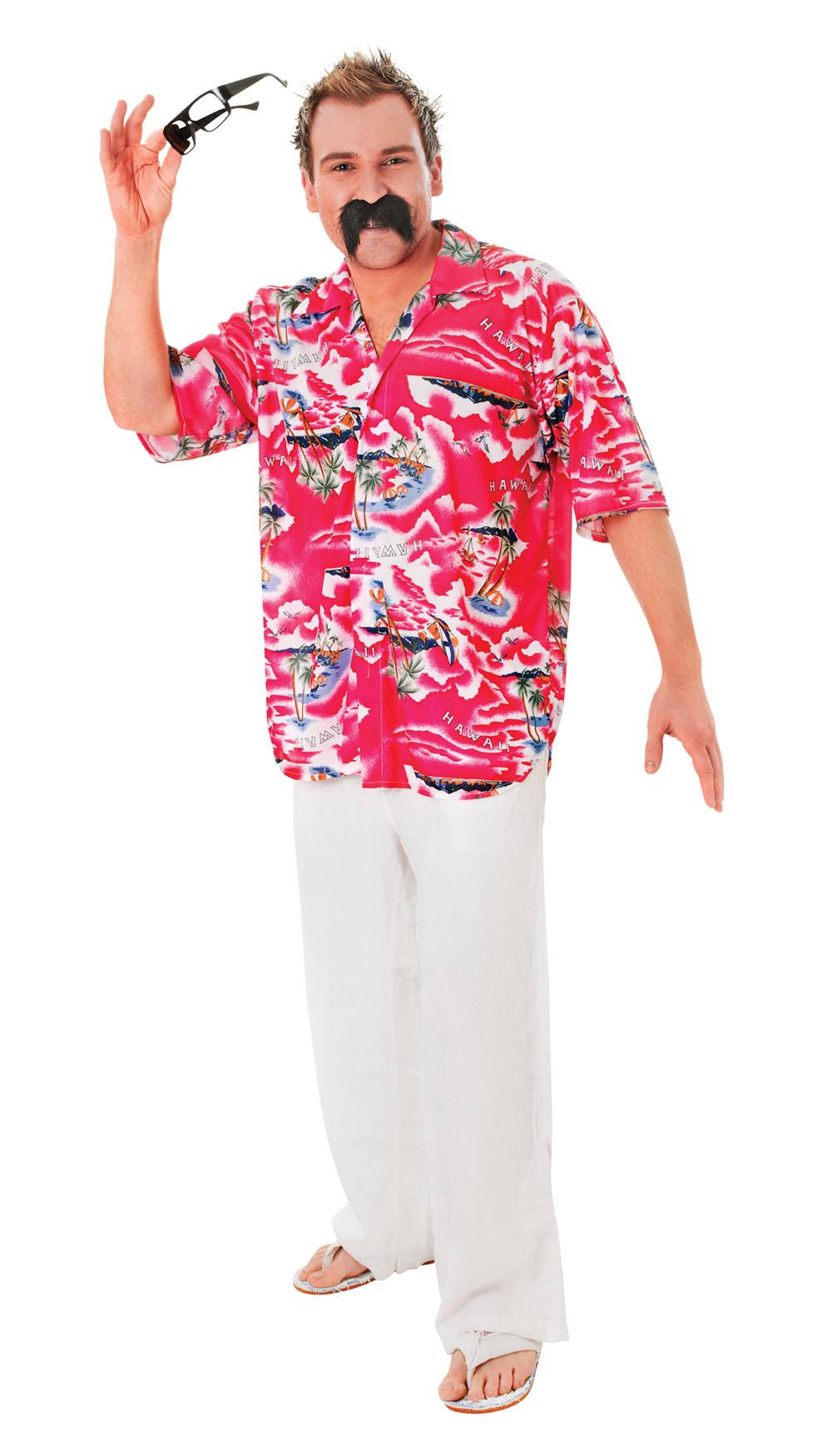 Mens Floral Hawaiian Shirt Fancy Dress Costume Beach Hawaii Surfer Outfit New