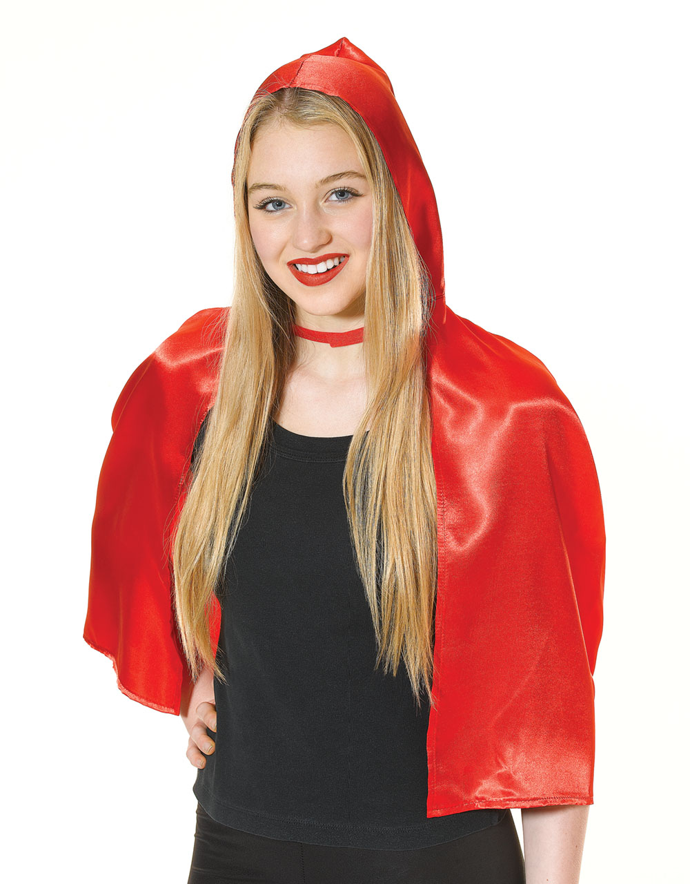 Ladies Little Red Riding Hood Cape Fancy Dress Costume Accessory One Size