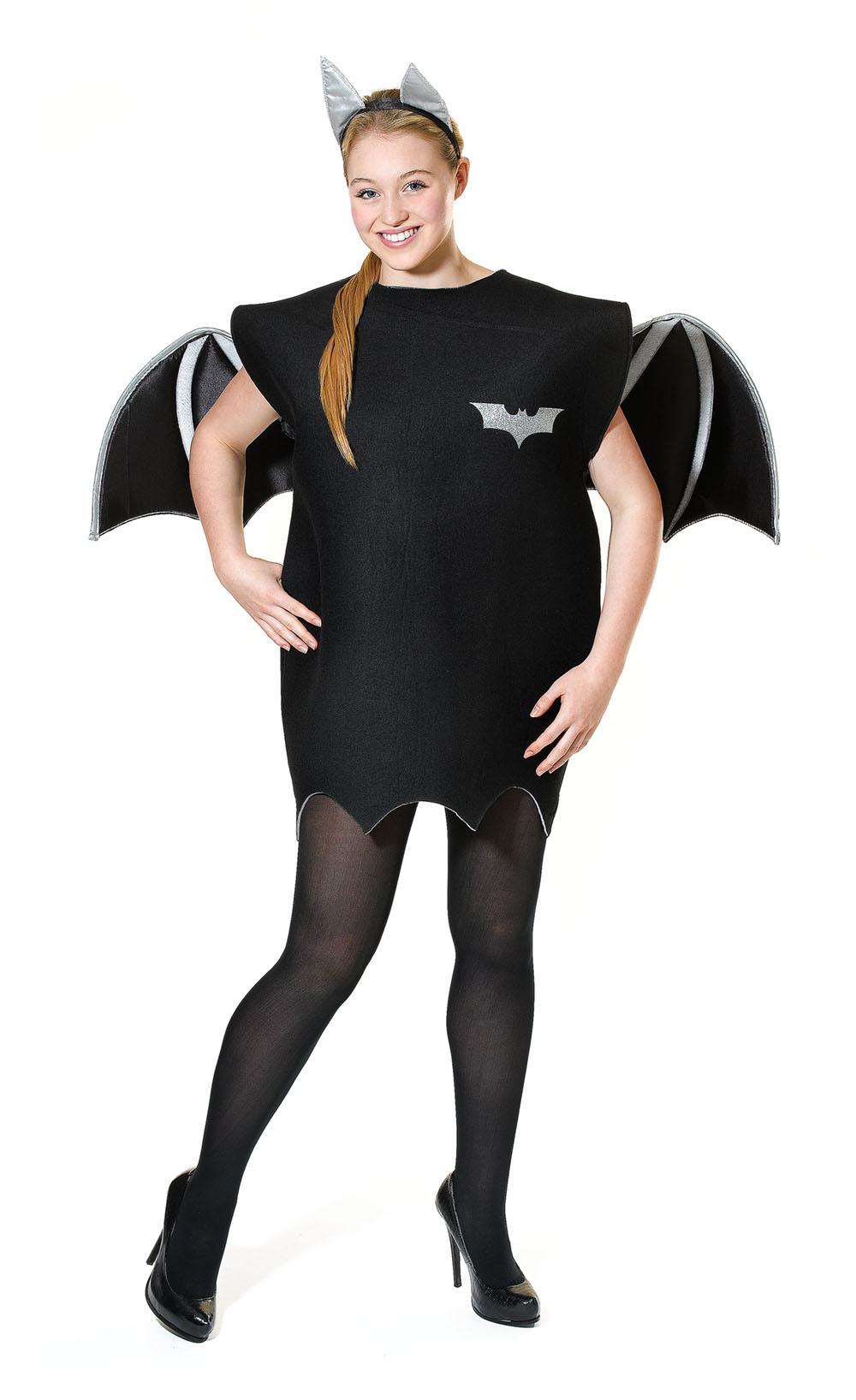 Ladies Bat Batwoman Black & Silver Fancy Dress Costume Halloween Outfit UK 10-14