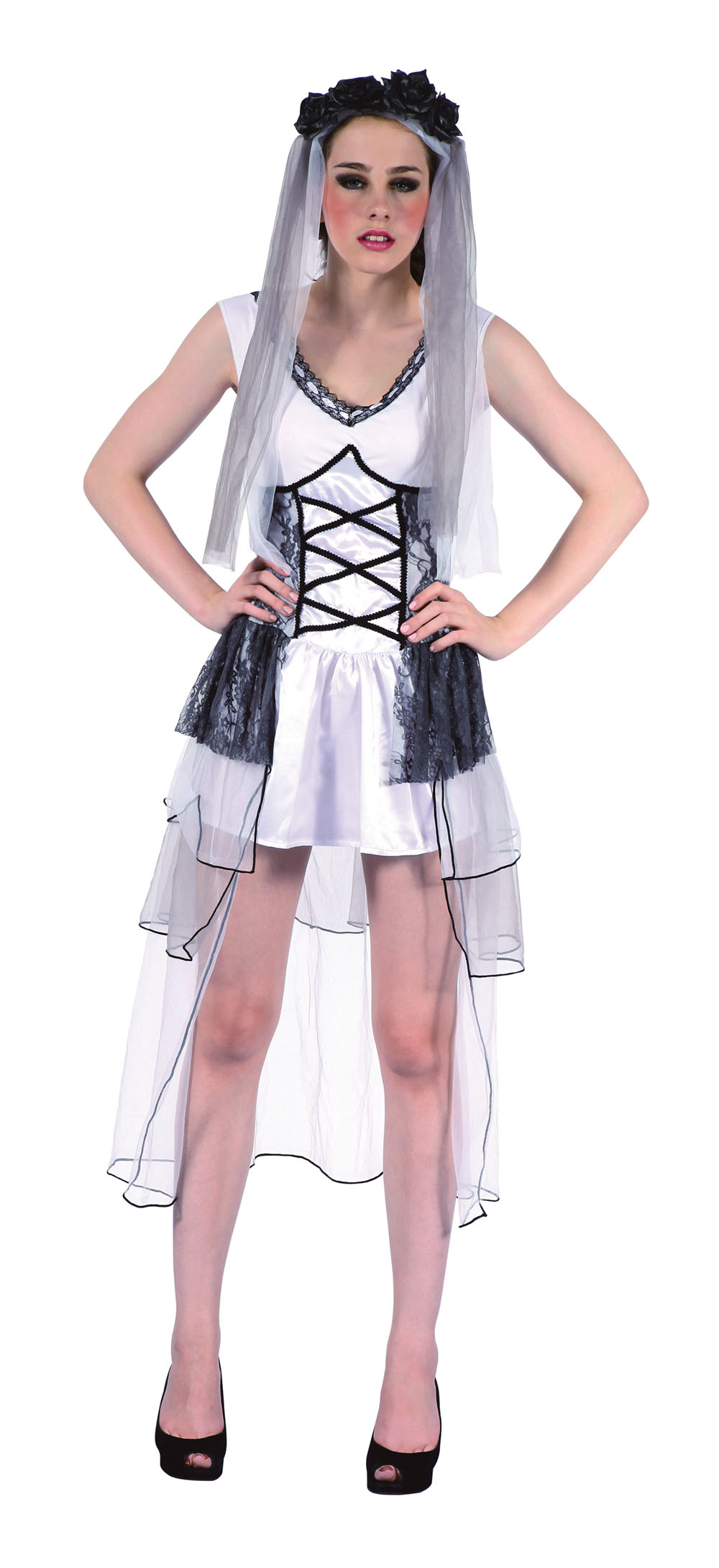 Ladies Halloween Bride Zombie Fancy Dress Costume Black & White Outfit UK 10-14