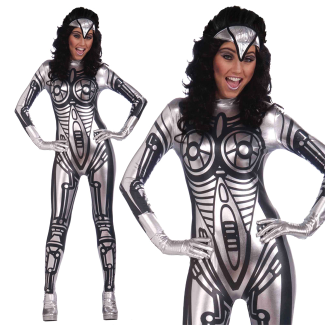 Ladies Silver Jumpsuit Robot Fancy Dress Costume Super Hero Outfit UK 10-14