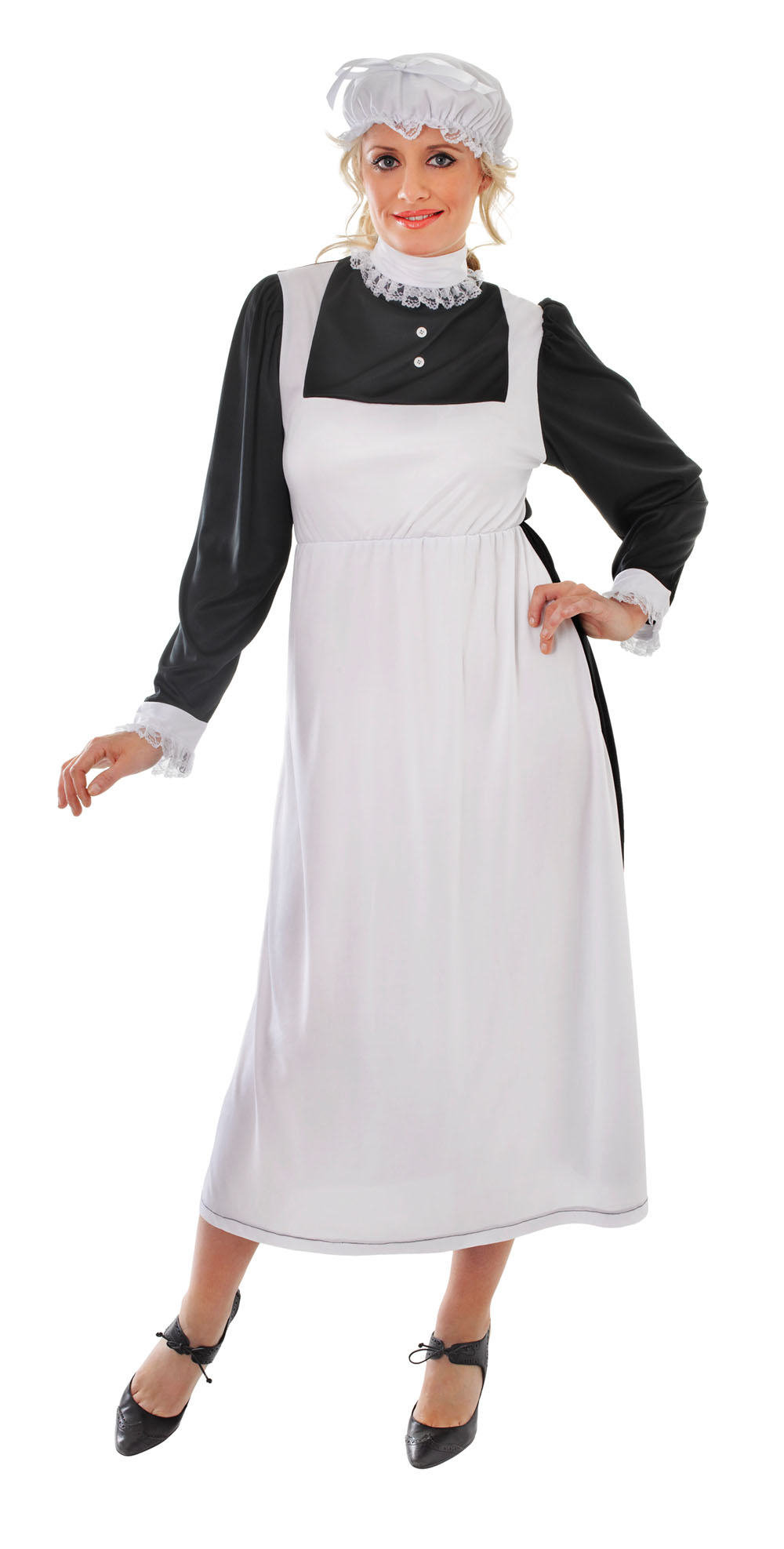 Ladies Victorian Chamber Maid Fancy Dress Costume Womens Outfit UK 10-14