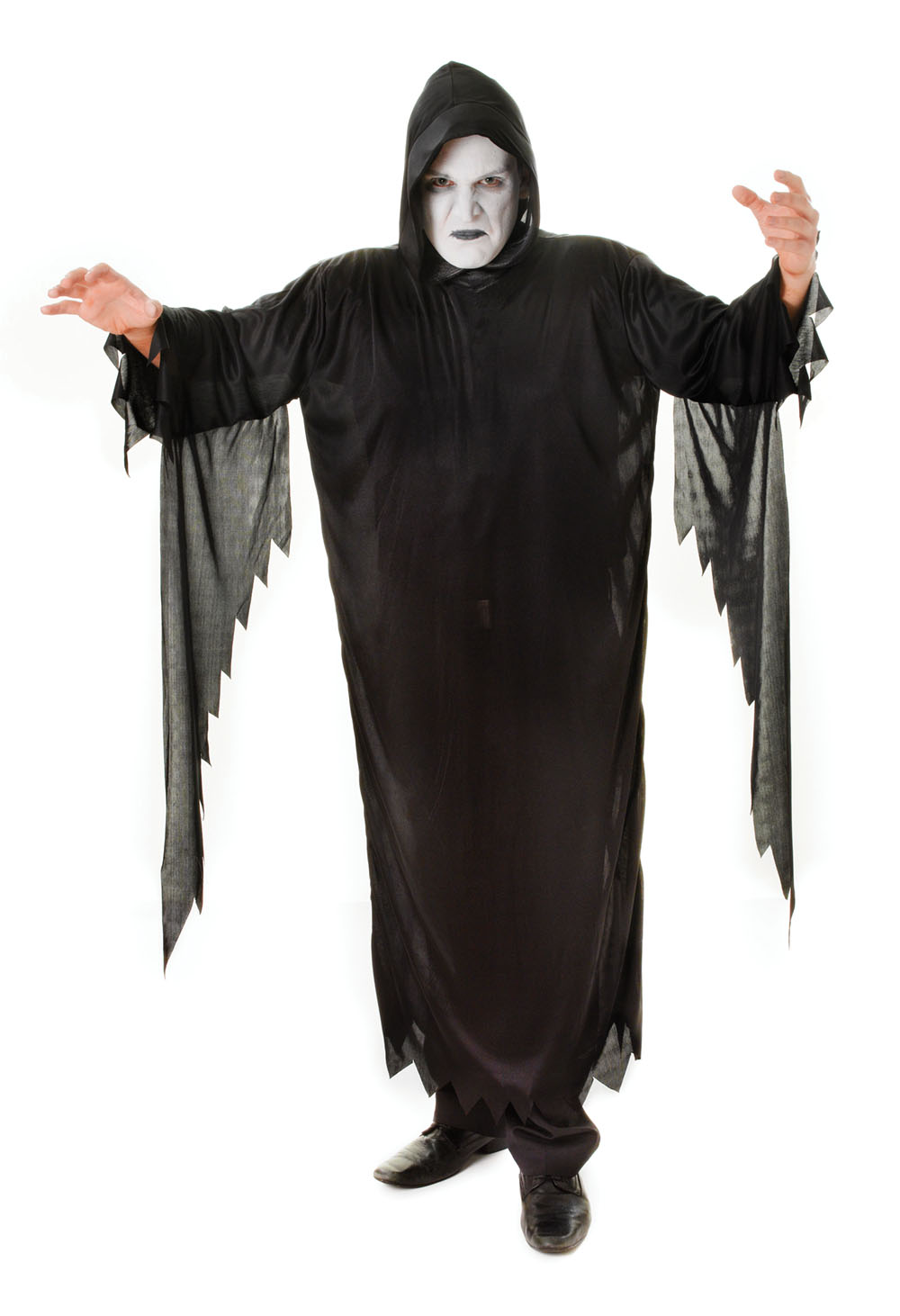 Mens Black Demon Scream Fancy Dress Costume Scary Halloween Party Outfit New