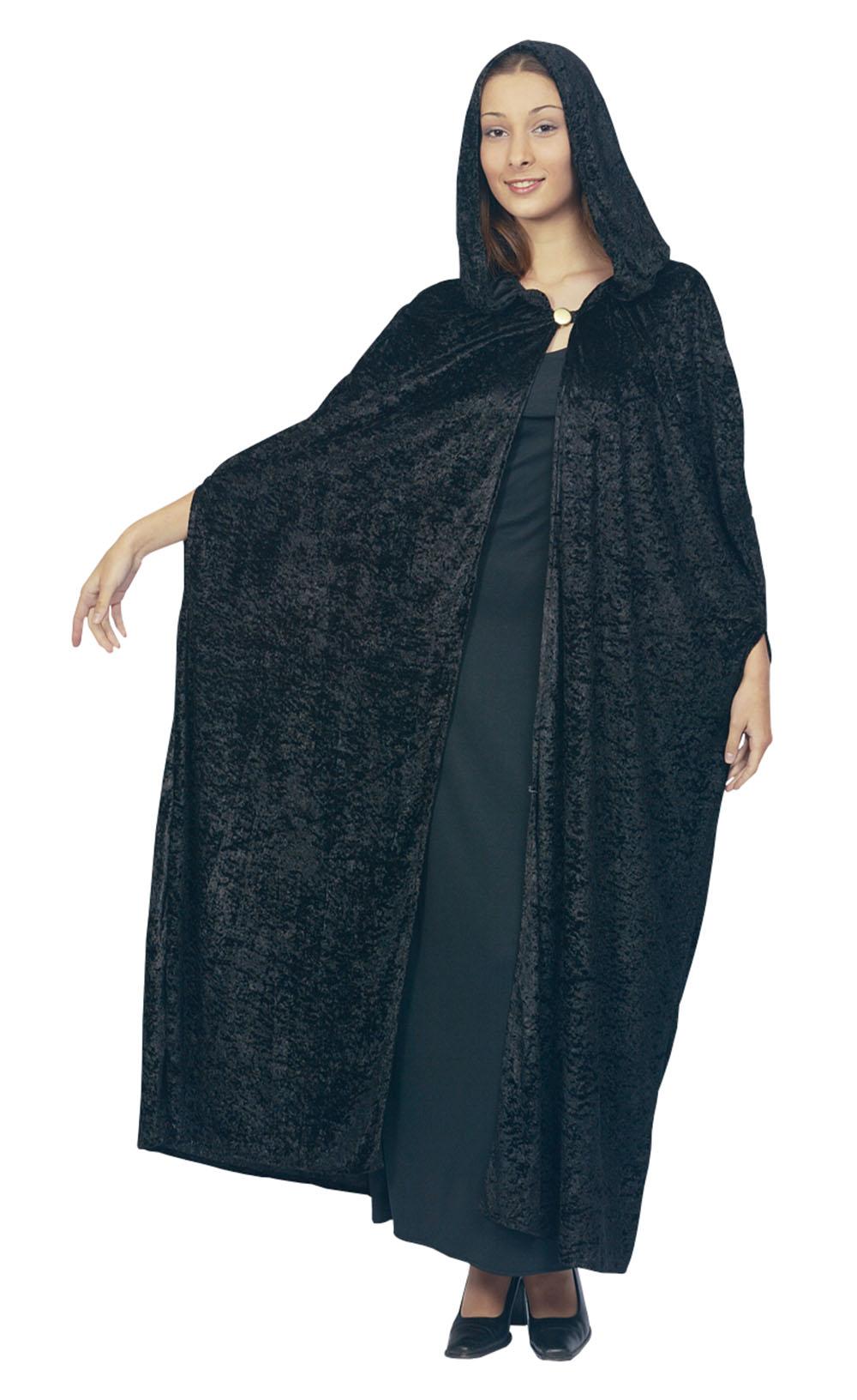 Ladies Hooded Black Velvet Cloak Fancy Dress Costume Gothic Halloween UK 10-14