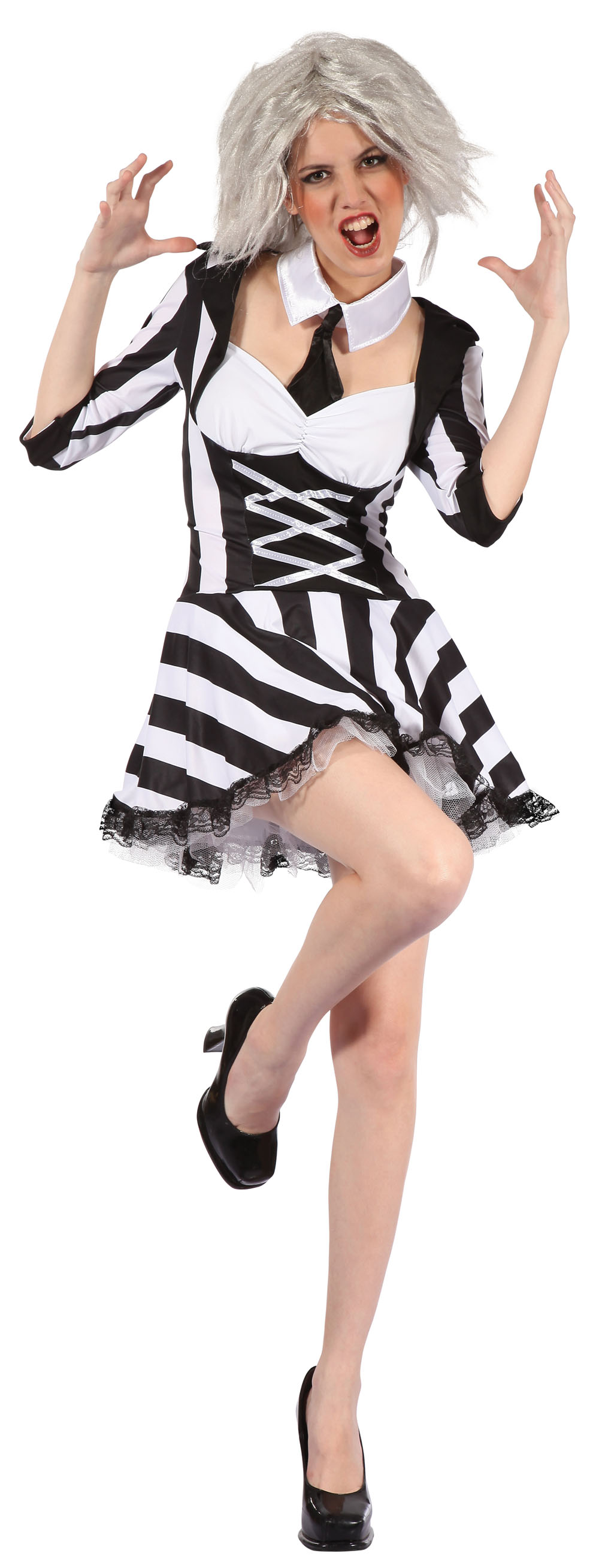 Ladies Beetlejuice Fancy Dress Costume Womens Halloween Party Outfit UK 10-14
