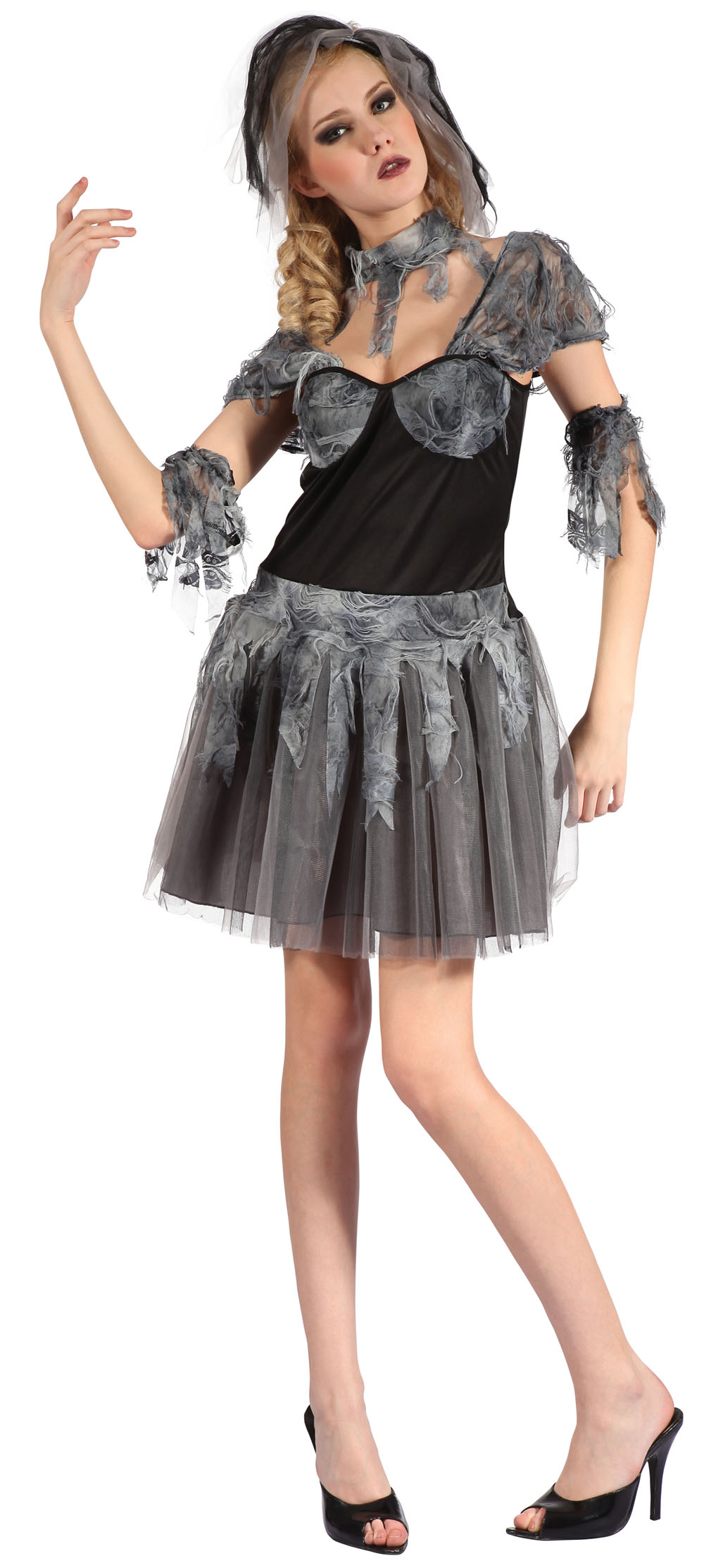 Ladies Gothic Wedding Gown Fancy Dress Costume Womens Outfit UK 10-14
