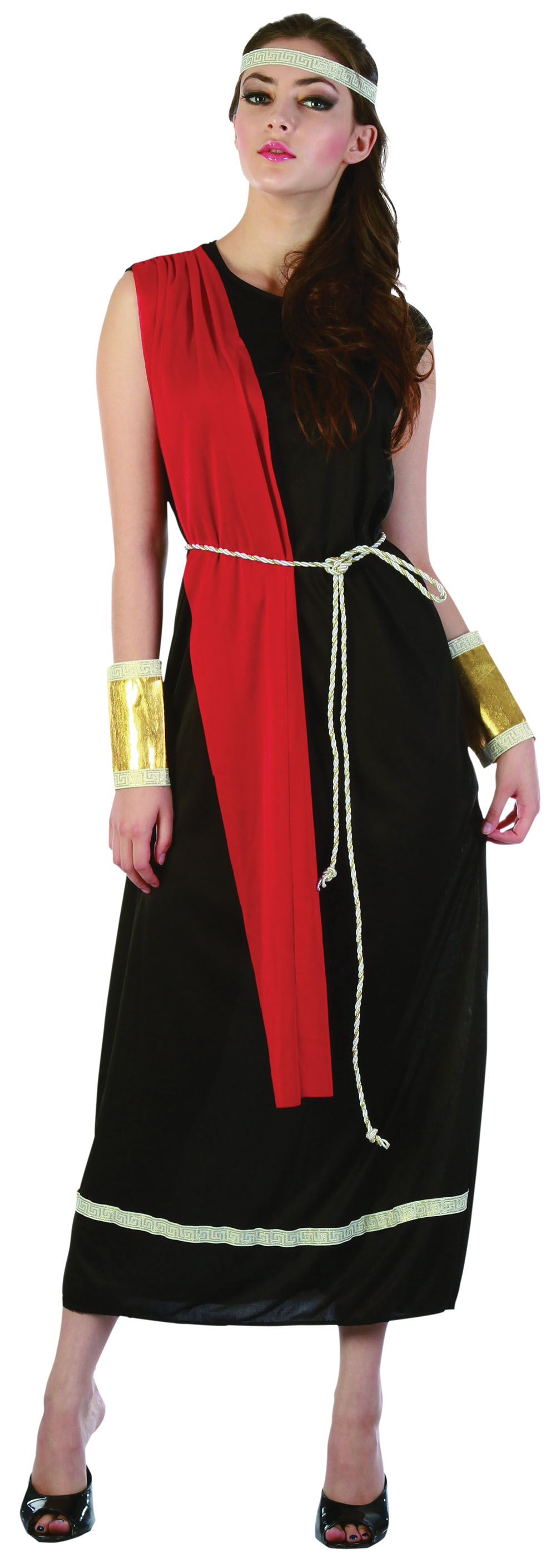 Ladies Black Roman Empress Toga Fancy Dress Party Costume Womens UK 10-14