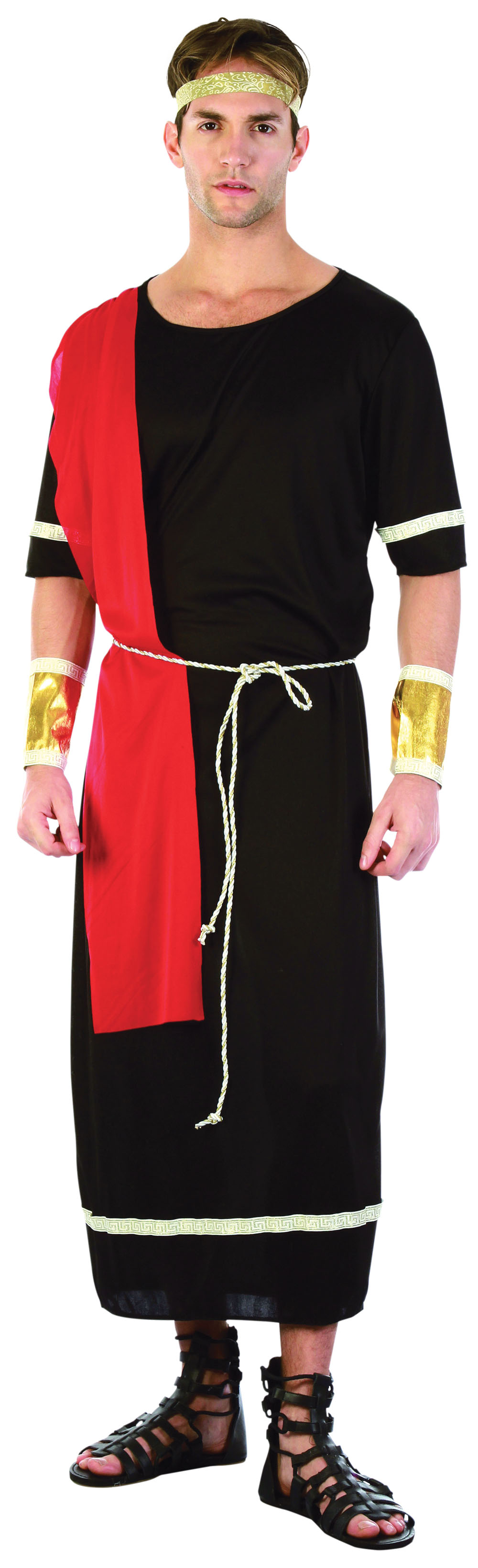Mens Black Toga Greek God Warrior Fancy Dress Costume Historic Actor Outfit New
