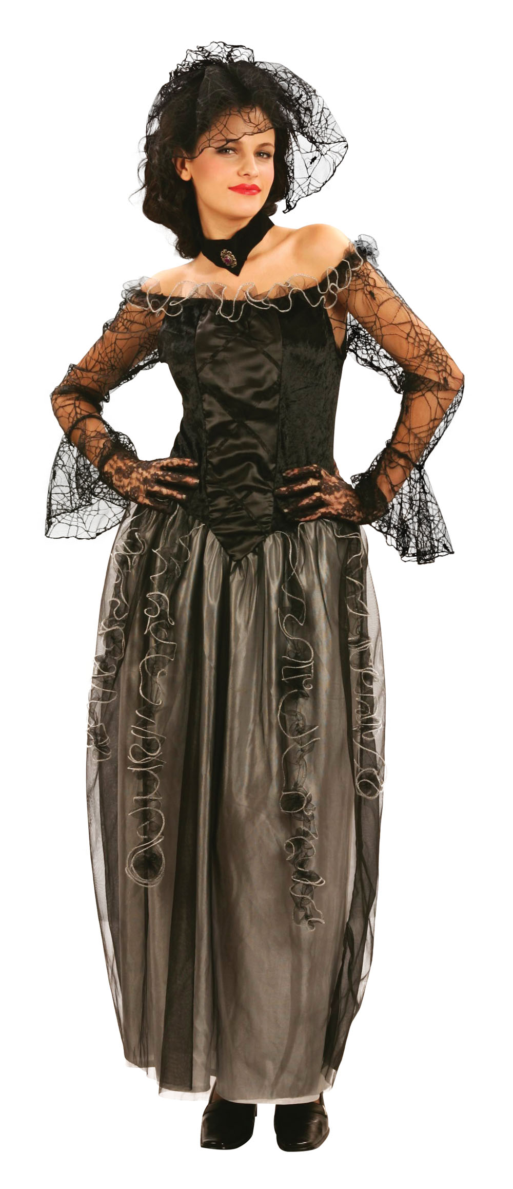Ladies Black Widow Gothic Fancy Dress Costume Halloween Gown Outfit UK 10-14