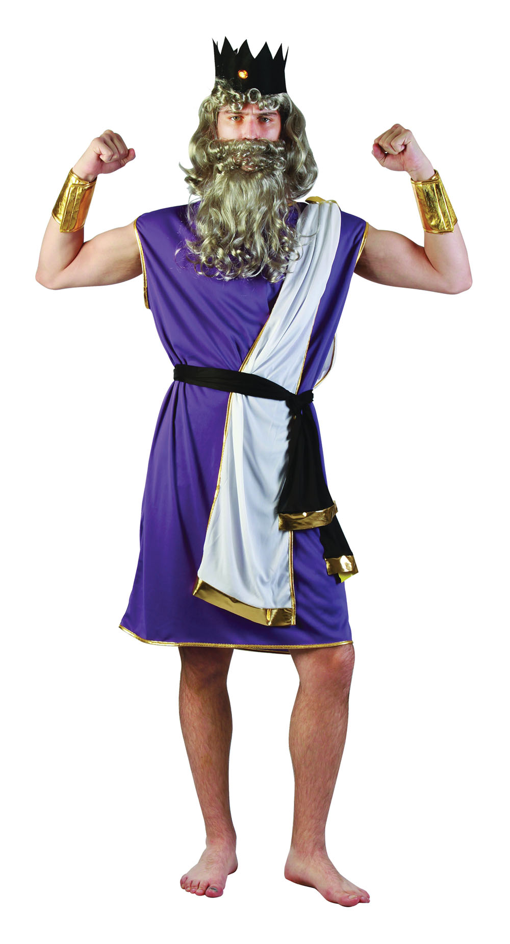 Mens Purple & White King Neptune Toga Fancy Dress Costume Greek God Outfit New