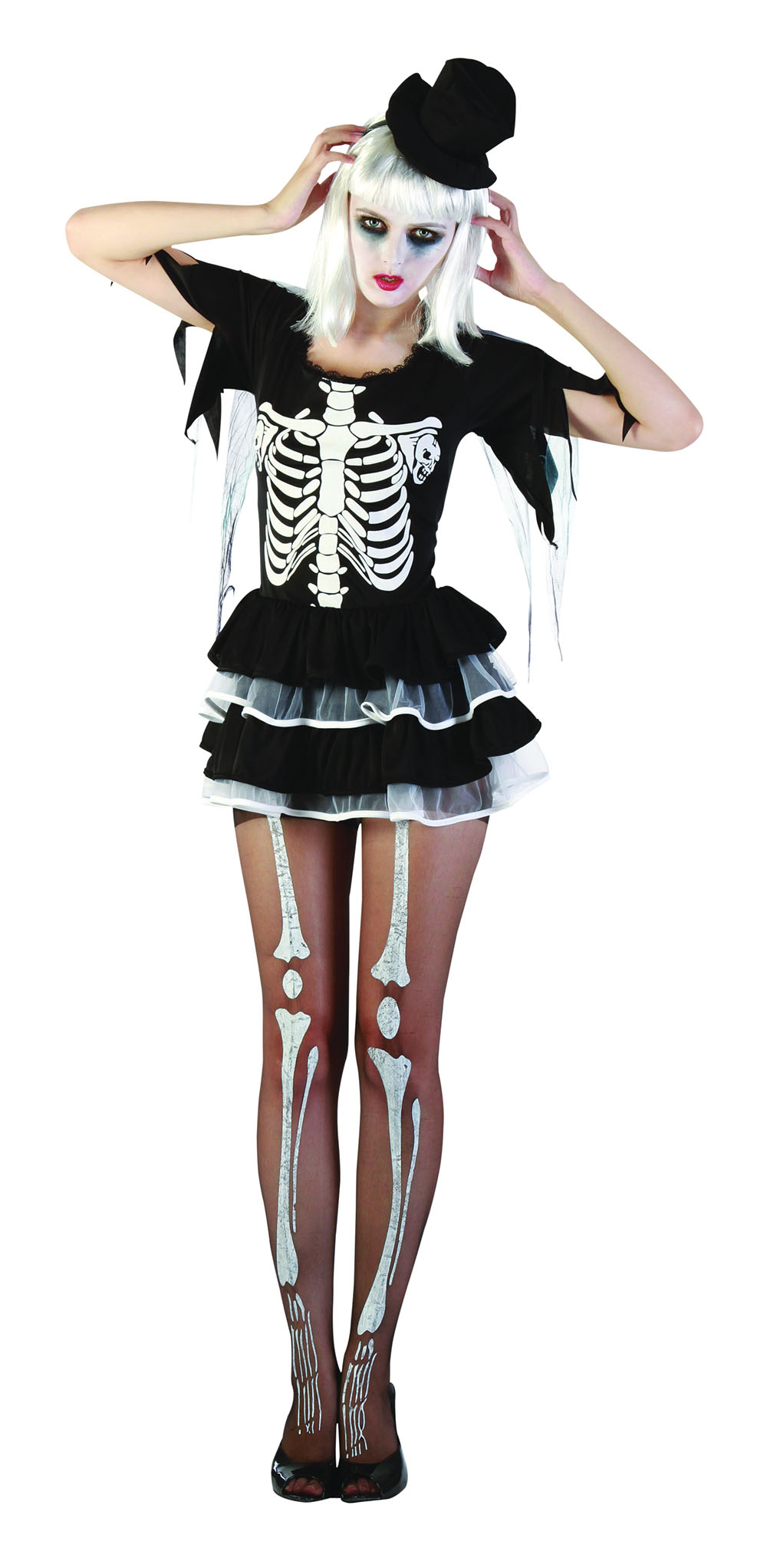 Ladies Skeleton Halloween Fancy Dress Costume Scary Womens Sexy Outfit UK 10-14