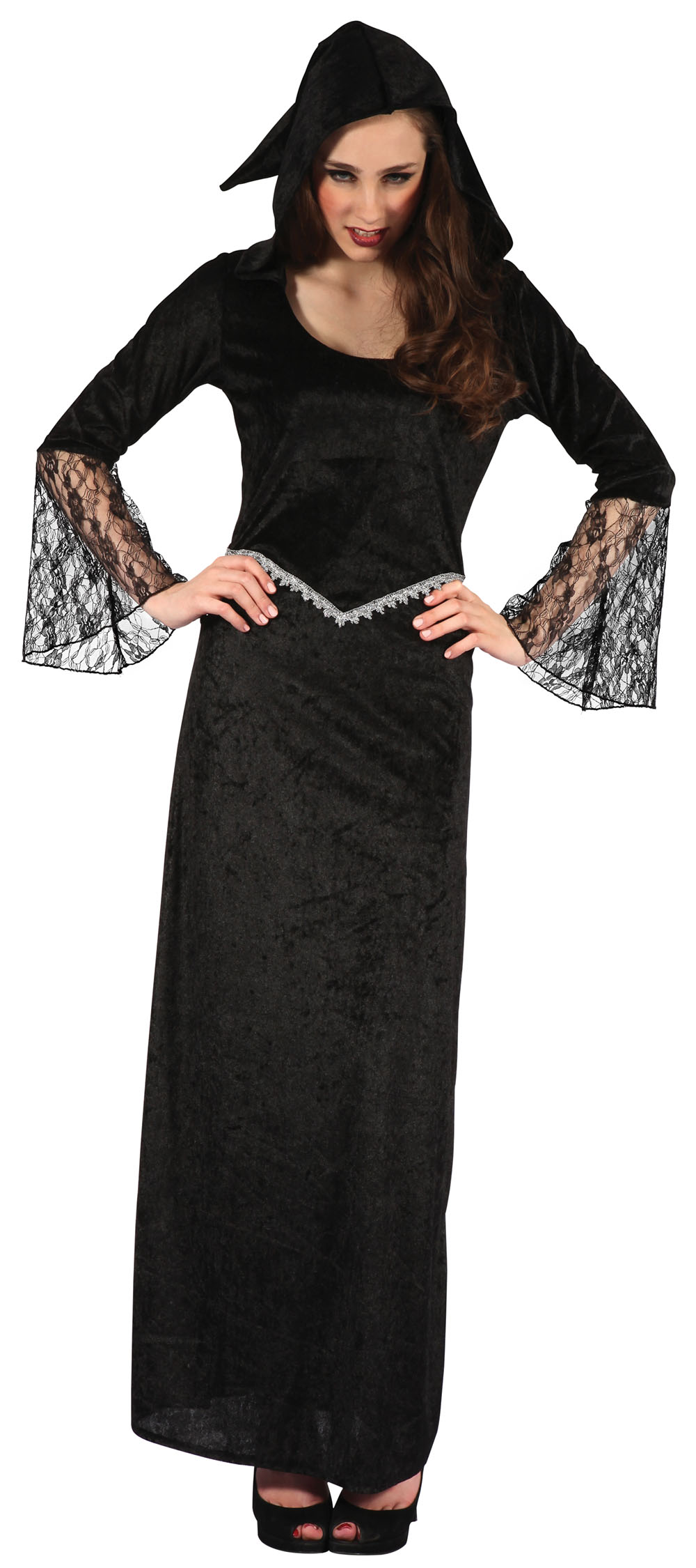 Ladies Black Widow Gothic Fancy Dress Costume Scary Halloween Outfit UK 10-14