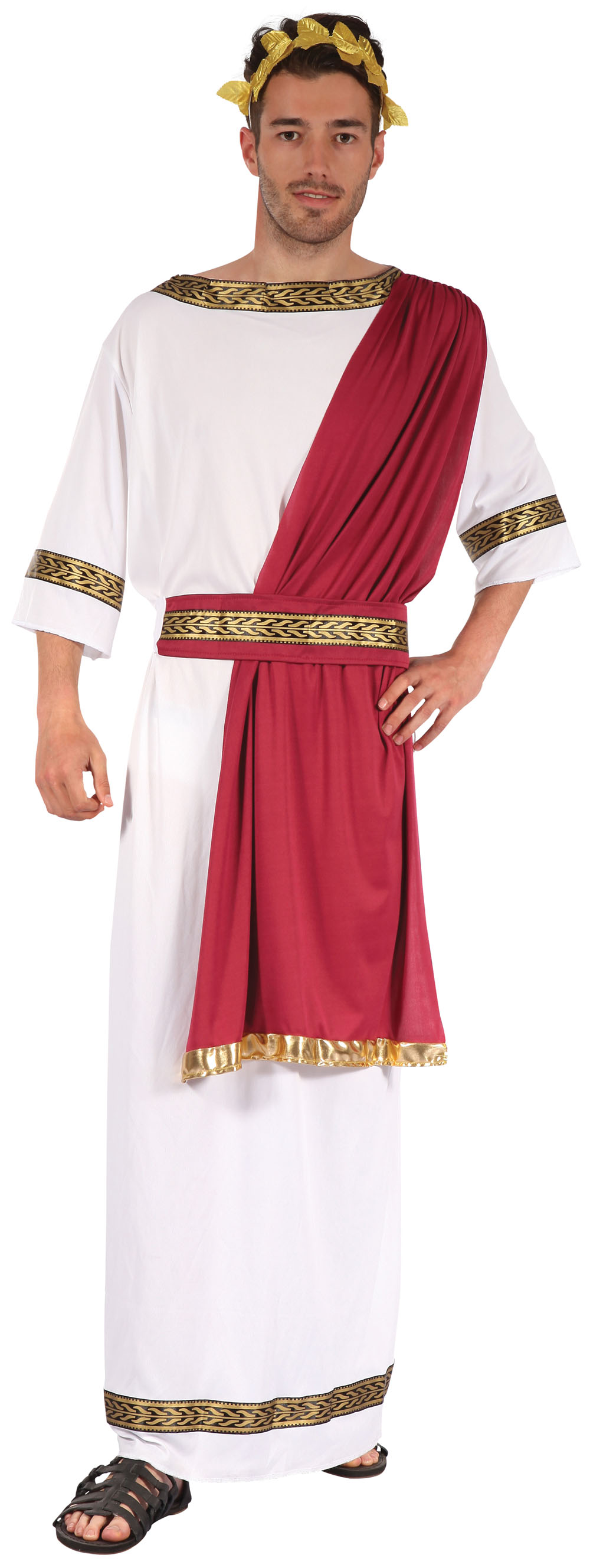 Mens White & Red Greek God Fancy Dress Costume Greecian Man Warrior Outfit