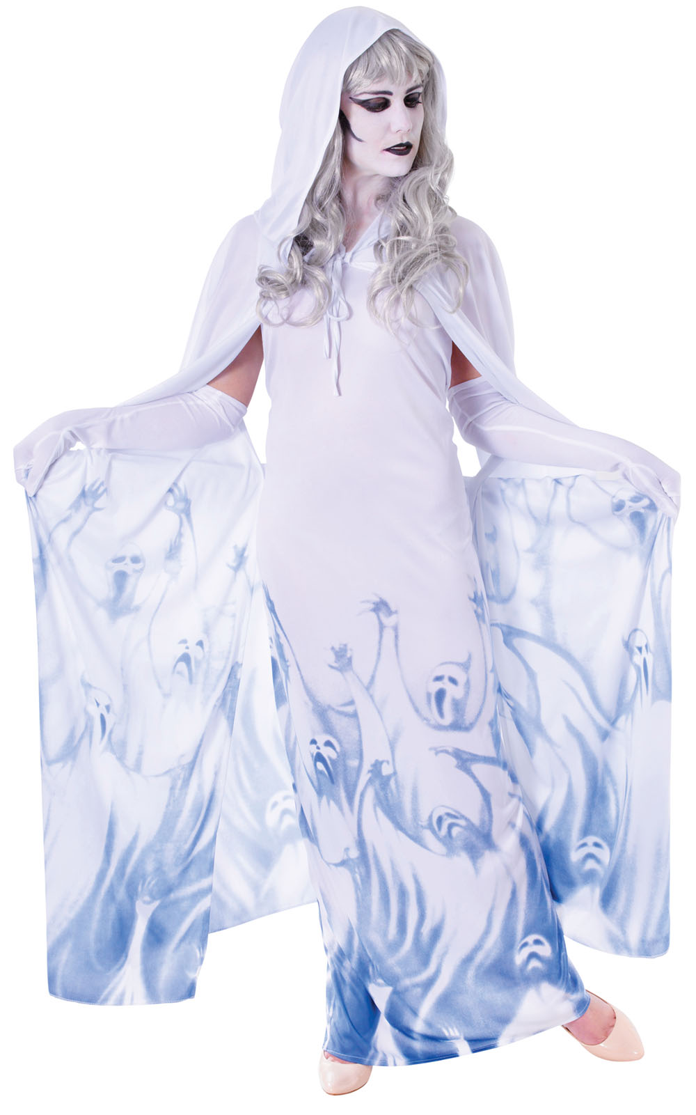 Ladies Ghost Soul Seeker Fancy Dress Costume Womens Halloween Outfit Uk 10-14