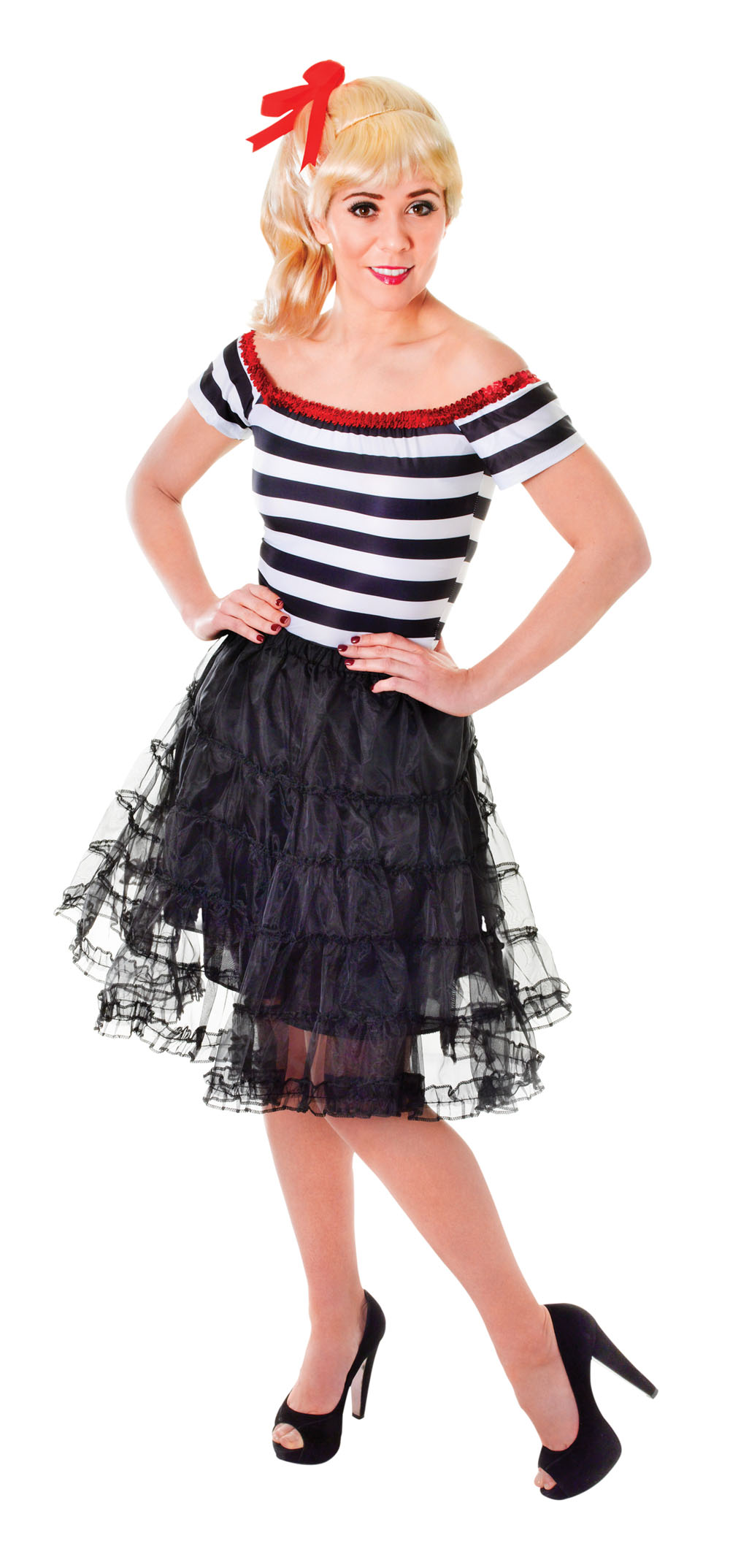 Ladies Black Ruffled Underskirt Fancy Dress Costume Volume Skirt Outfit UK 10-14