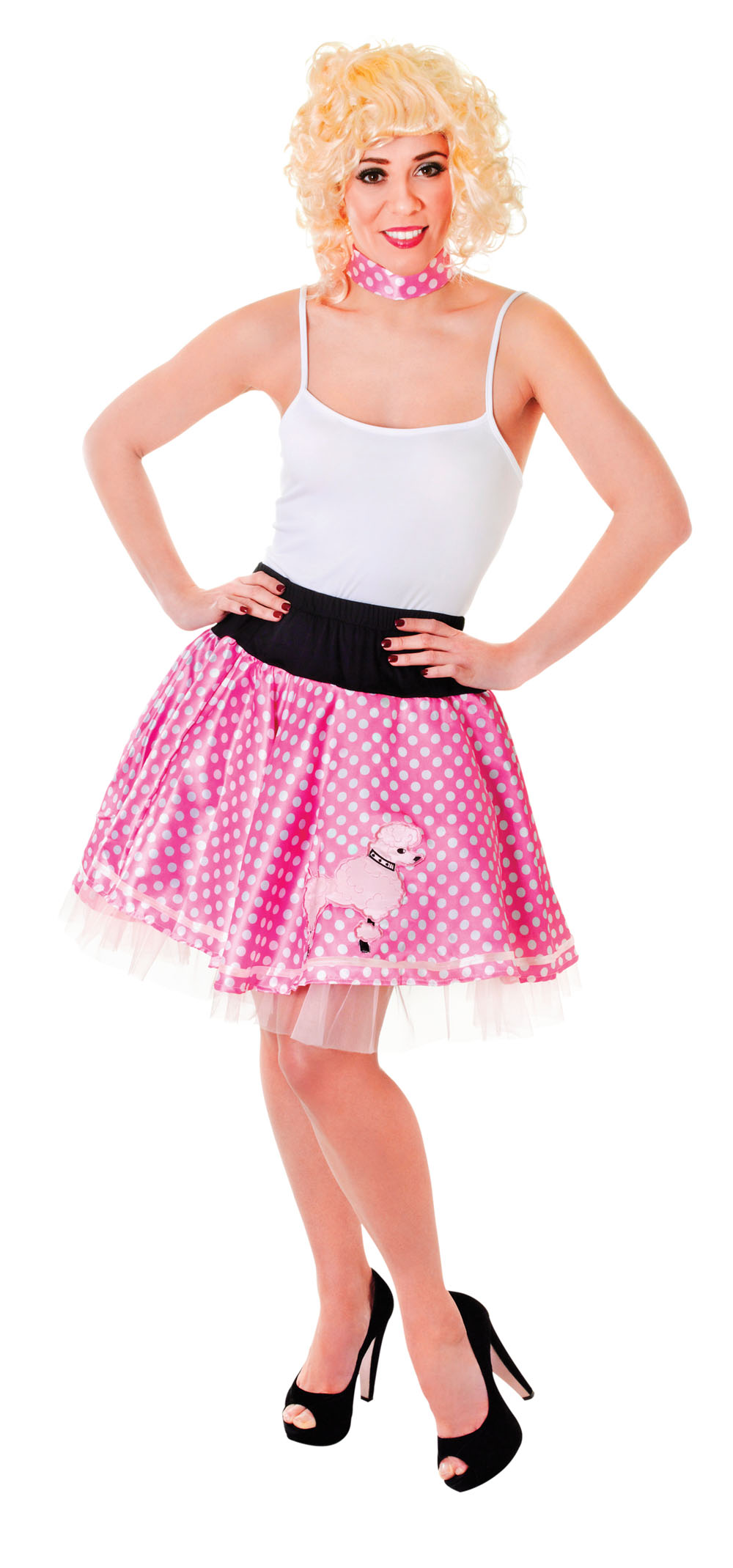 Ladies 1950's Style Skirt Poodle & Polka Dots Fancy Dress Costume Pink UK 10-14