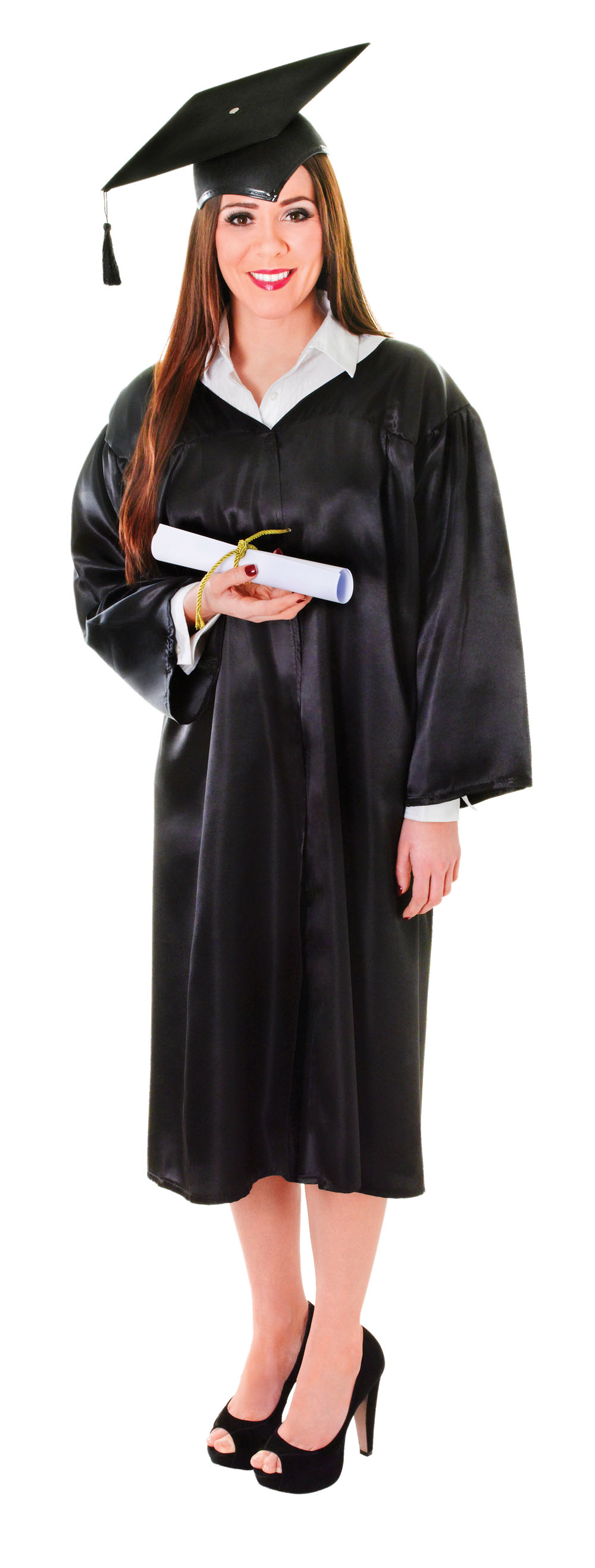Unisex Black Graduation Robe Fancy Dress Costume University College Outfit New