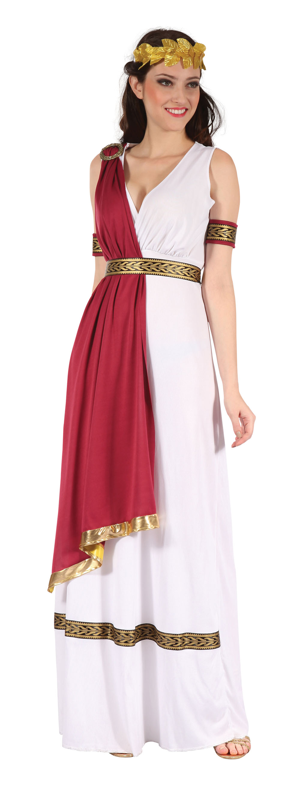 Ladies White & Red Greek Goddess Fancy Dress Costume Greecian Outfit UK 10-14