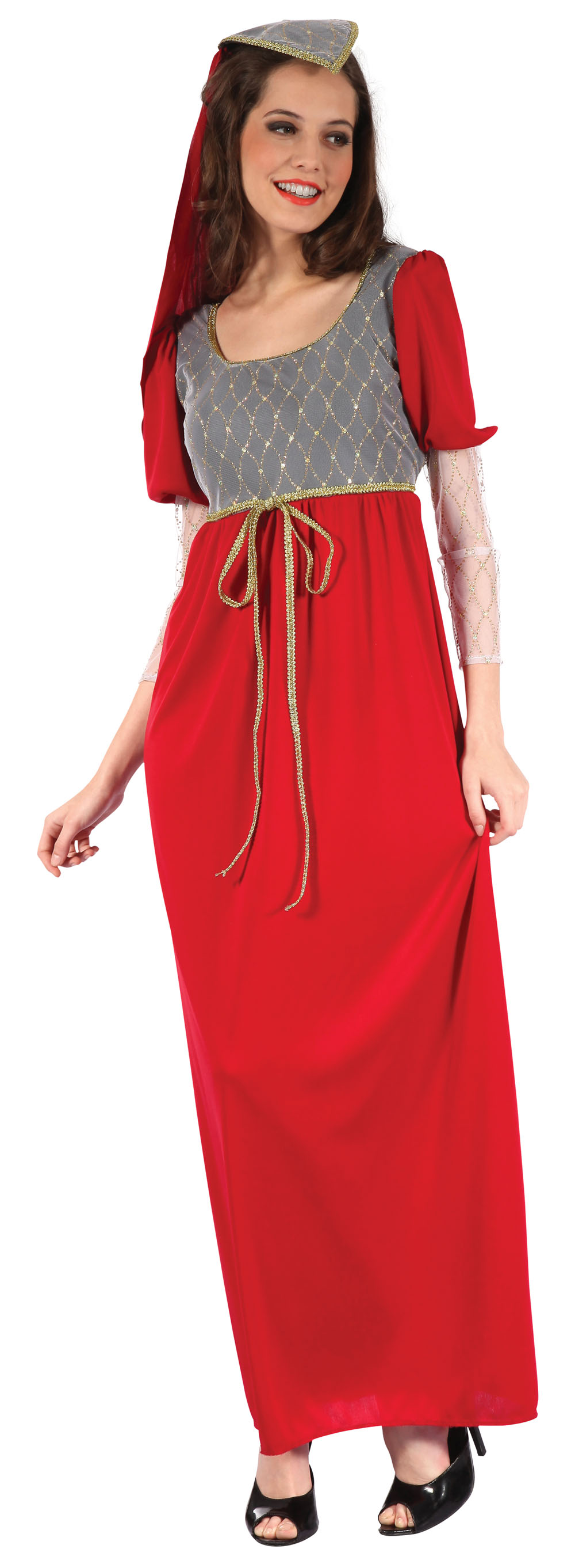 Ladies Medieval Red Princess Gown Fancy Dress Costume Historic Outfit UK 10-14