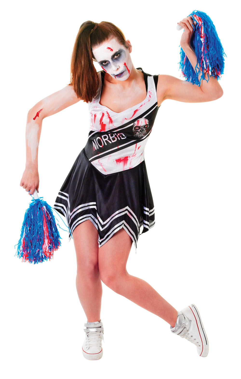 Ladies Zombie Highschool Cheerleader Halloween Fancy Dress Costume UK 10-14