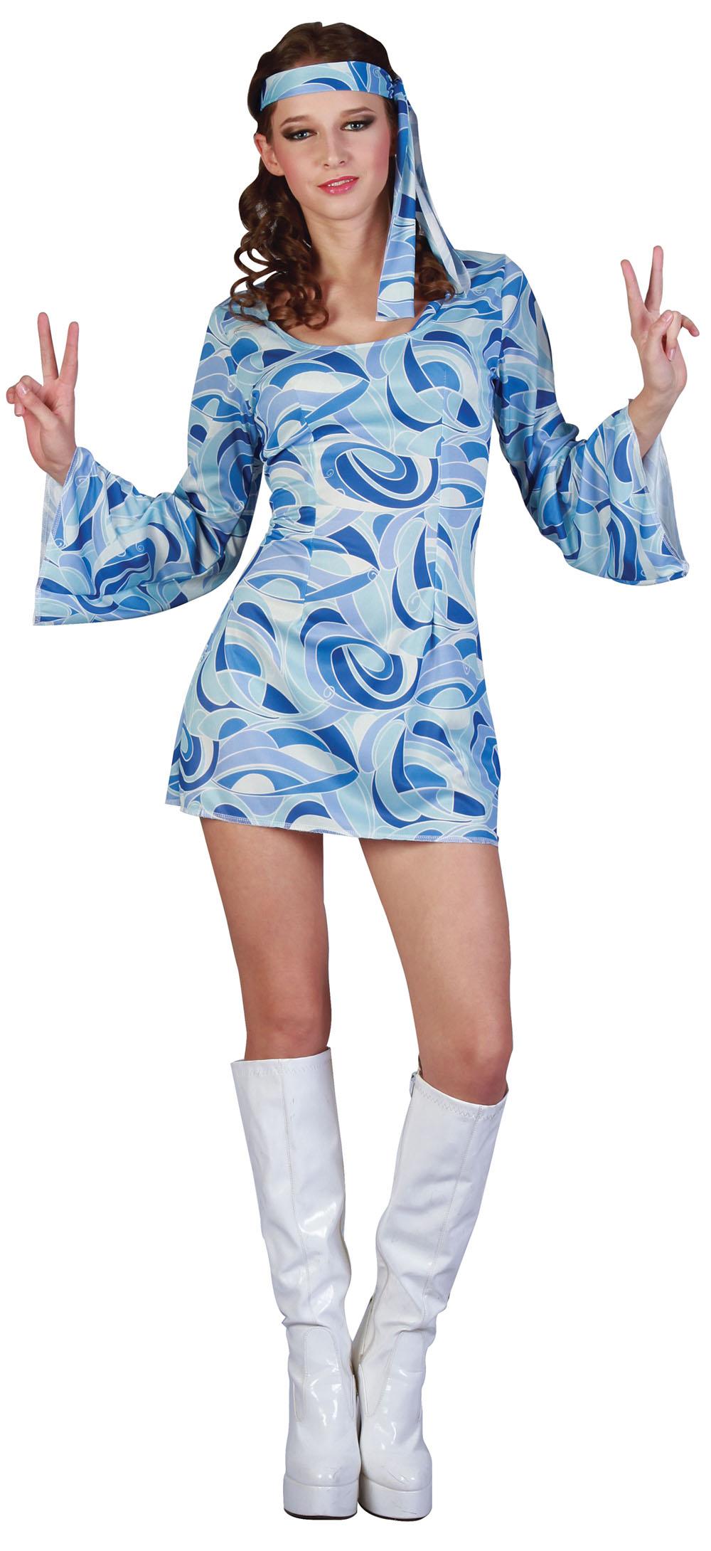 Ladies Blue Flower Power Fancy Dress Costume 70's Hippy Womens UK 10-14