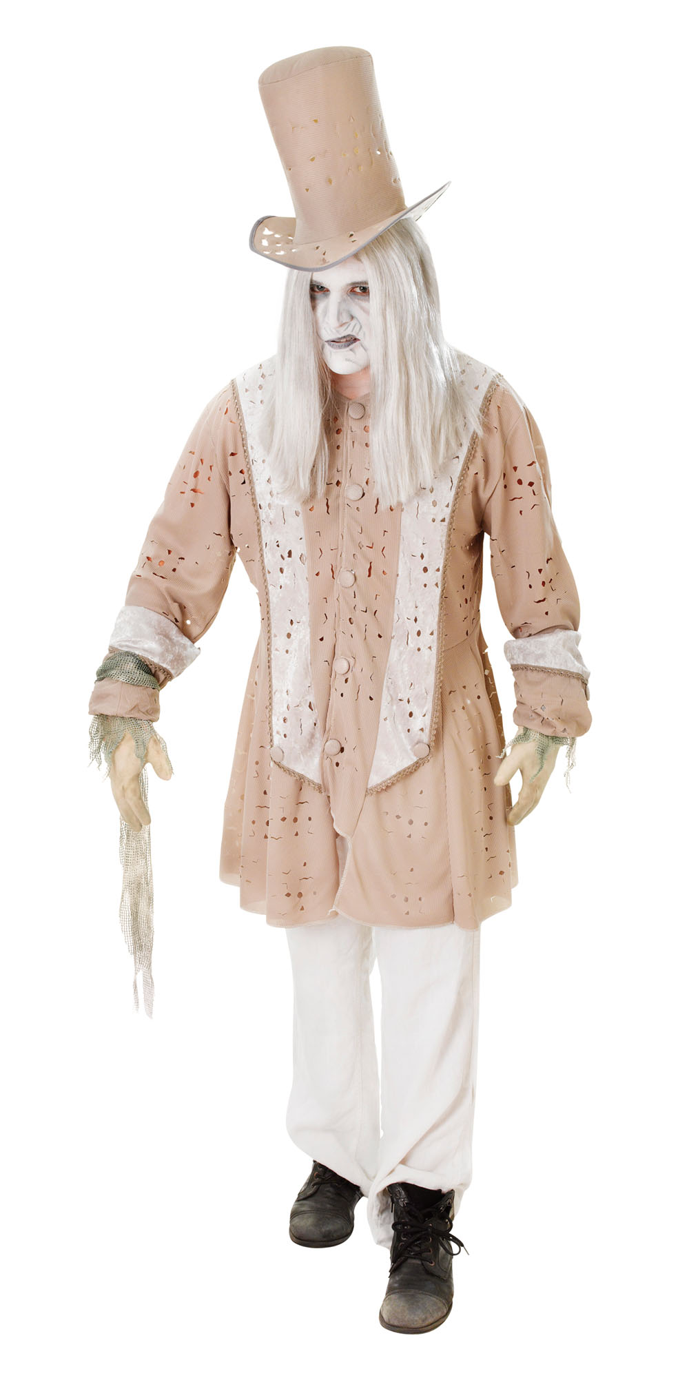 Mens Cream & White Ghostly Halloween Fancy Dress Costume Scary Party Outfit