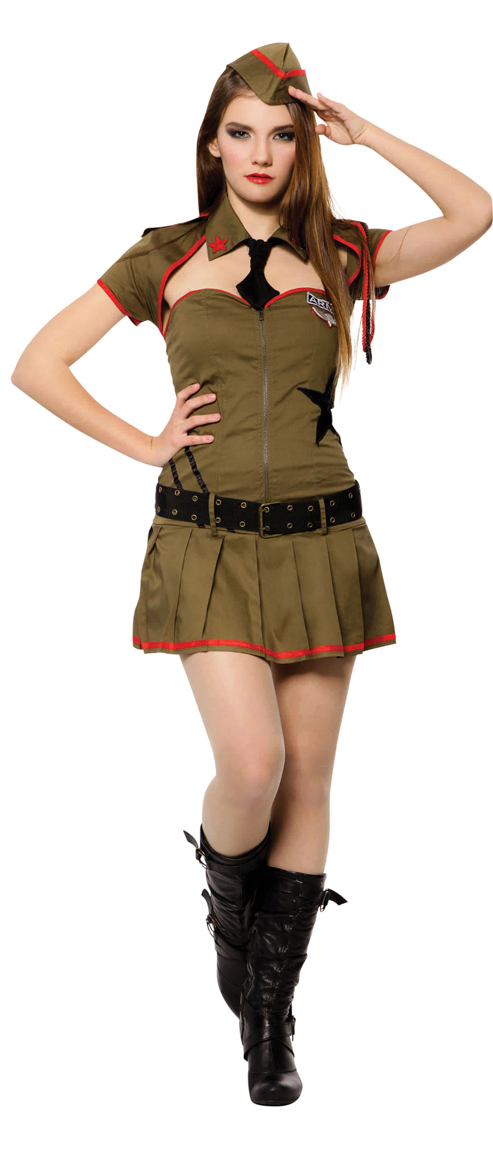 Ladies Sexy Soldier Fancy Dress Costume Army Military Womens Outfit UK 10-14