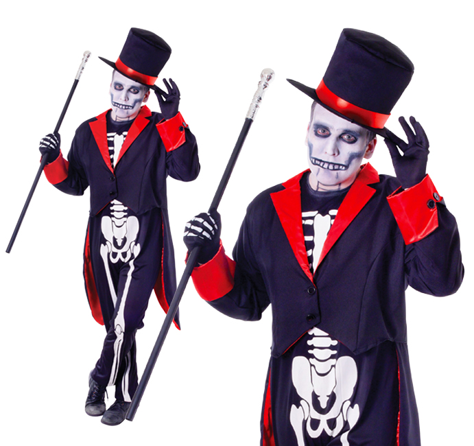 Mens Mr Bone Jangles Halloween Fancy Dress Costume Skeleton Suit Outfit