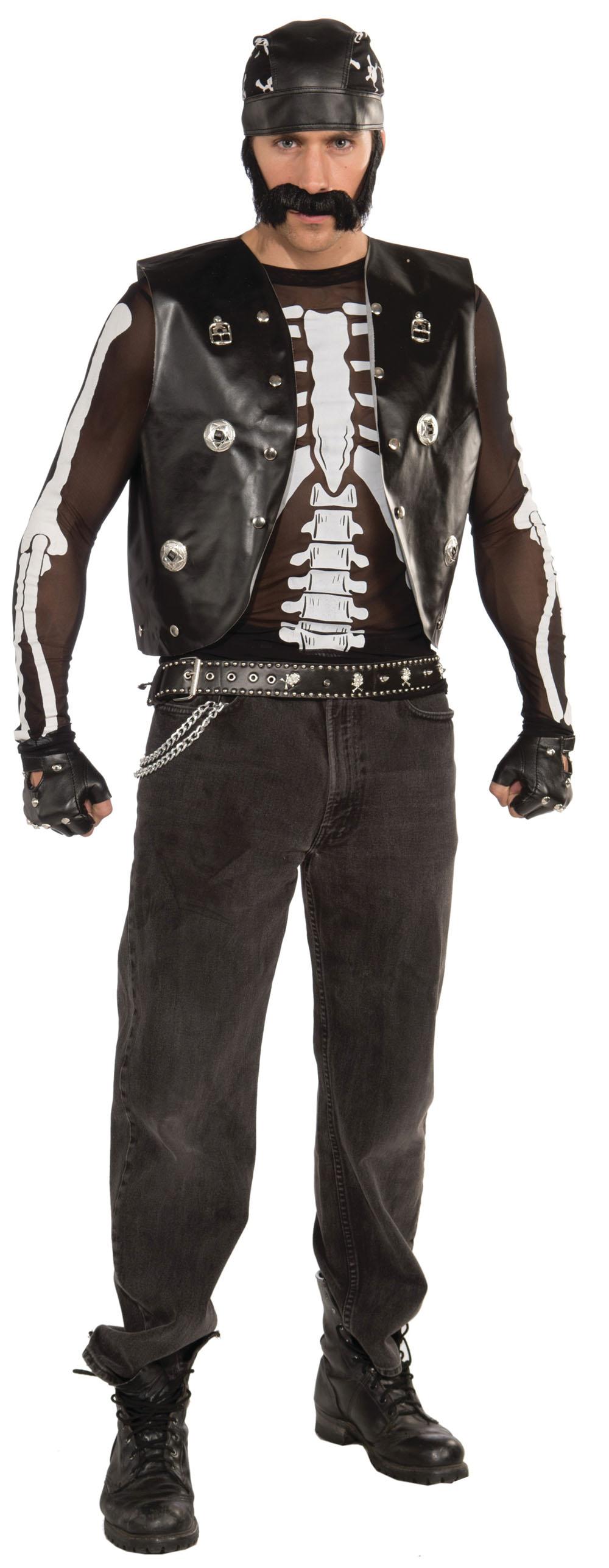 Unisex Black & White Skeleton Mesh Shirt Halloween Fancy Dress Costume Outfit